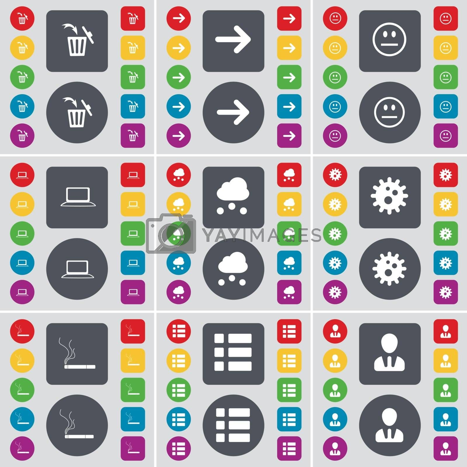 Royalty free image of Trash can, Arrow right, Smile, Laptop, Cloud, Gear, Cigarette, List, Avatar icon symbol. A large set of flat, colored buttons for your design. Vector by serhii_lohvyniuk