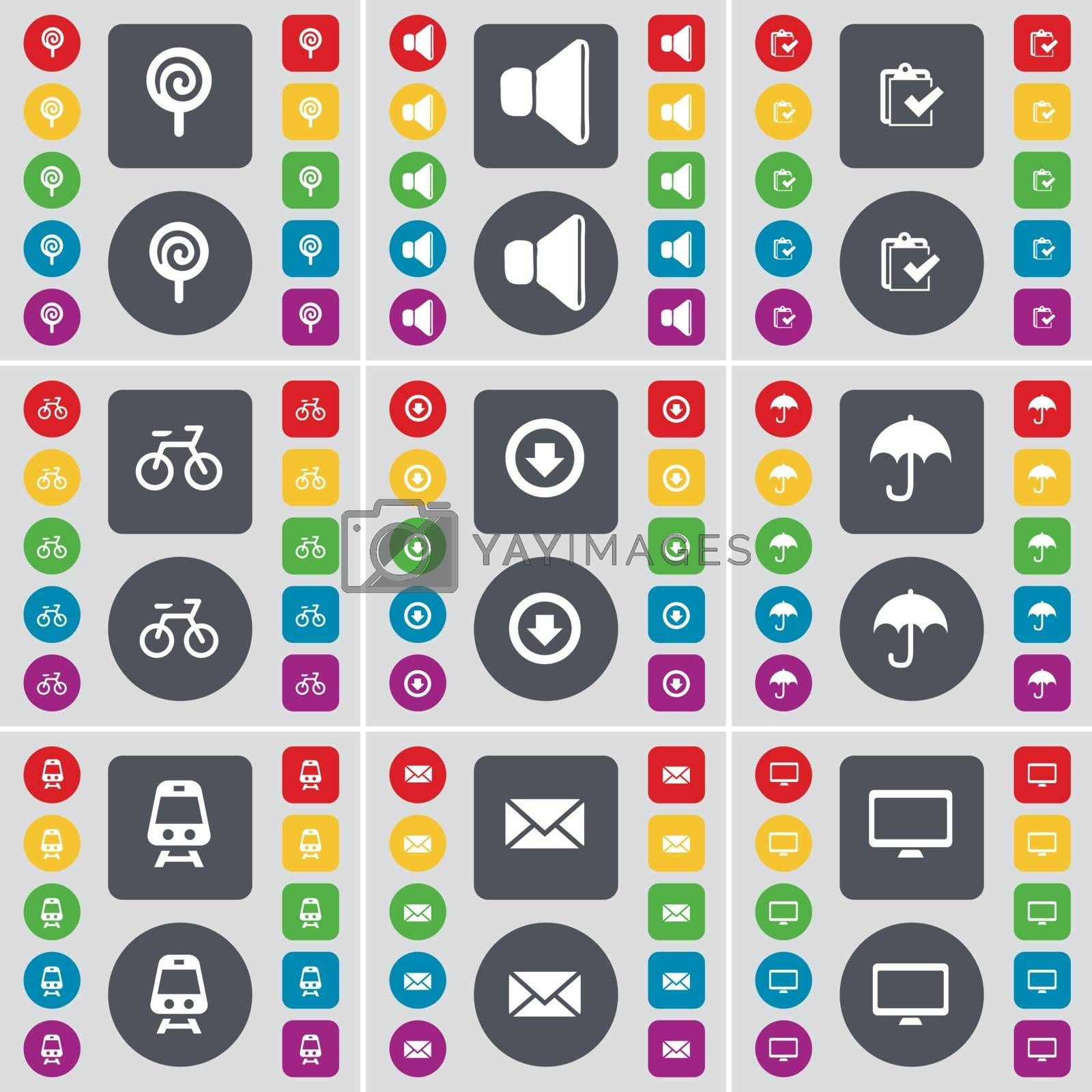 Royalty free image of Lollipop, Sound, Survey, Bicycle, Arrow down, Umbrella, Train, Message, Monitor icon symbol. A large set of flat, colored buttons for your design. Vector by serhii_lohvyniuk
