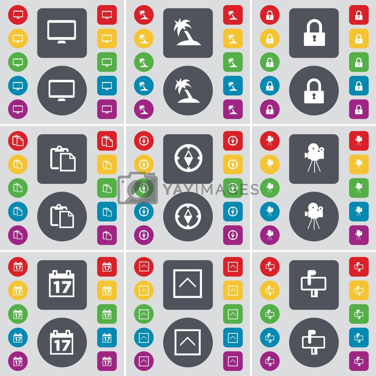 Royalty free image of Monitor, Palm, Lock, Survey, Compass, Film camera, Calendar, Arrow up, Mailbox icon symbol. A large set of flat, colored buttons for your design. Vector by serhii_lohvyniuk