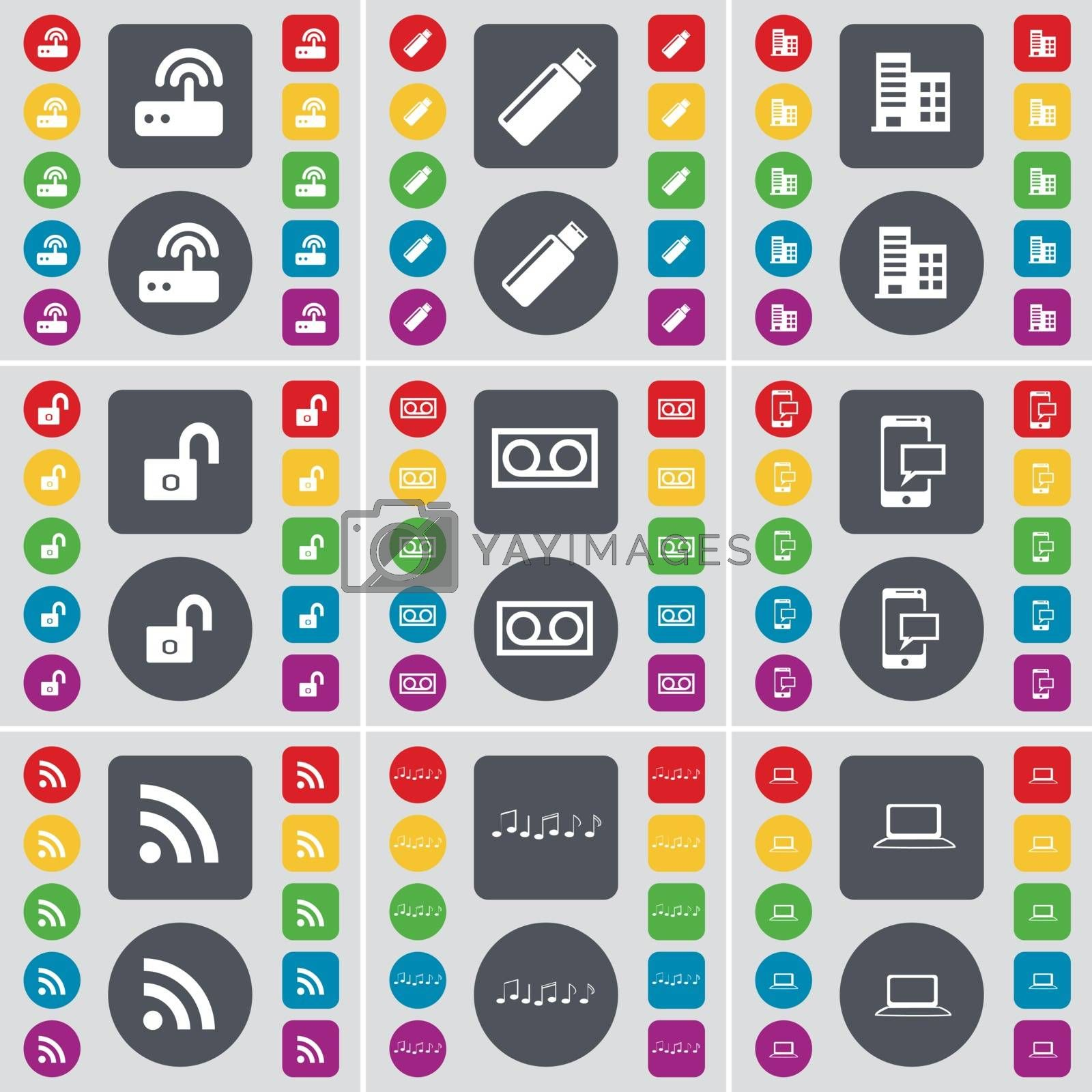 Royalty free image of Router, USB, Building, Lock, Cassette, SMS, RSS, Note, Laptop icon symbol. A large set of flat, colored buttons for your design. Vector by serhii_lohvyniuk