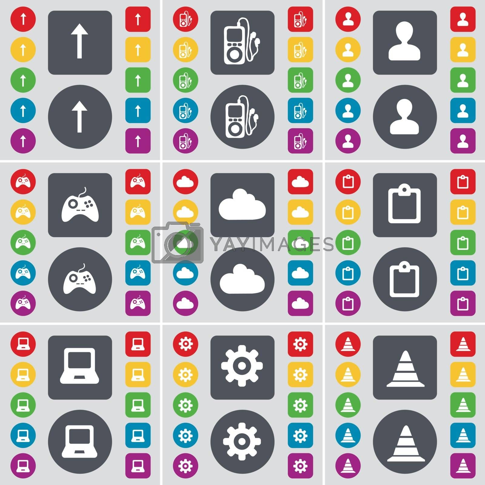 Royalty free image of Arrow up, MP3 player, Avatar, Gamepad, Cloud, Survey, Laptop, Gear, Cone icon symbol. A large set of flat, colored buttons for your design. Vector by serhii_lohvyniuk