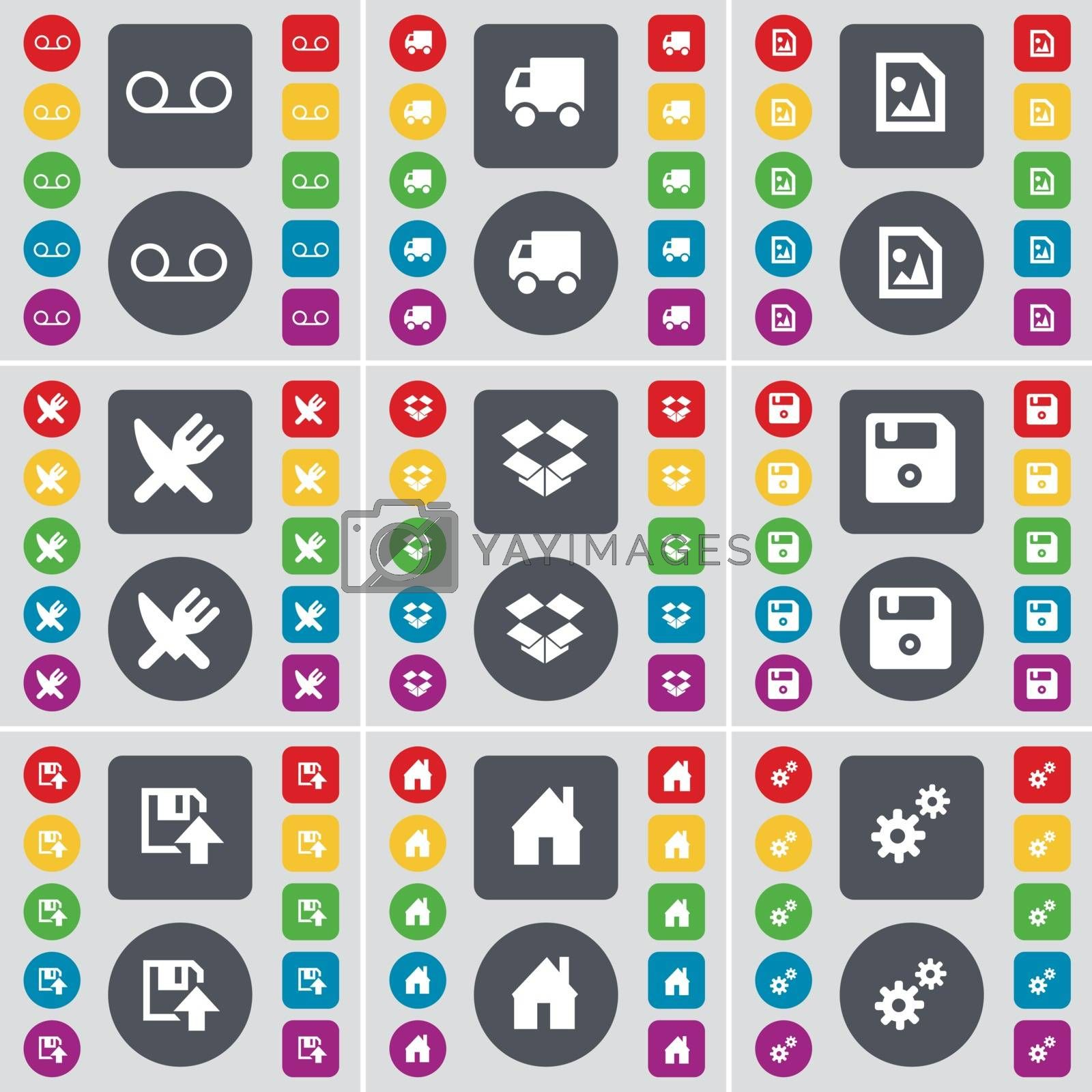 Royalty free image of Cassette, Truck, Media file, Fork and knife, Dropbox, Floppy, House, Gears icon symbol. A large set of flat, colored buttons for your design. Vector by serhii_lohvyniuk