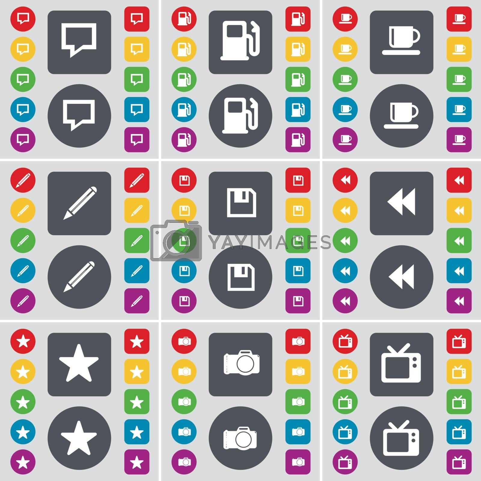 Royalty free image of Chat bubble, Gas station, Cup, Pencil, Floppy, Rewind, Star, Camera, Retro TV icon symbol. A large set of flat, colored buttons for your design. Vector by serhii_lohvyniuk
