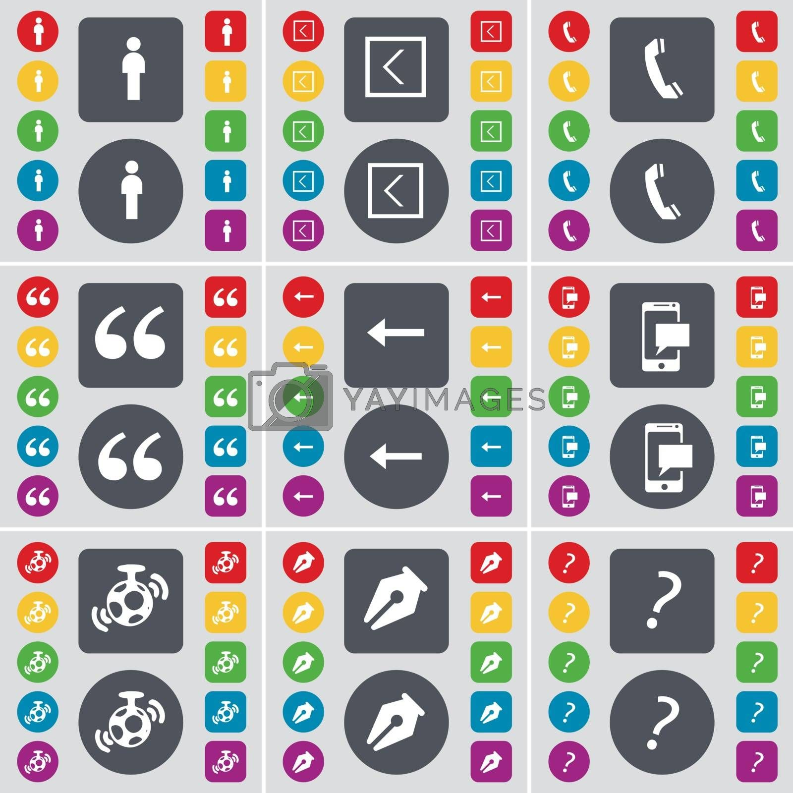 Royalty free image of Silhouette, Arrow left, Receiver, Quoting mark, SMS, Speaker, Ink pen, Question mark icon symbol. A large set of flat, colored buttons for your design. Vector by serhii_lohvyniuk