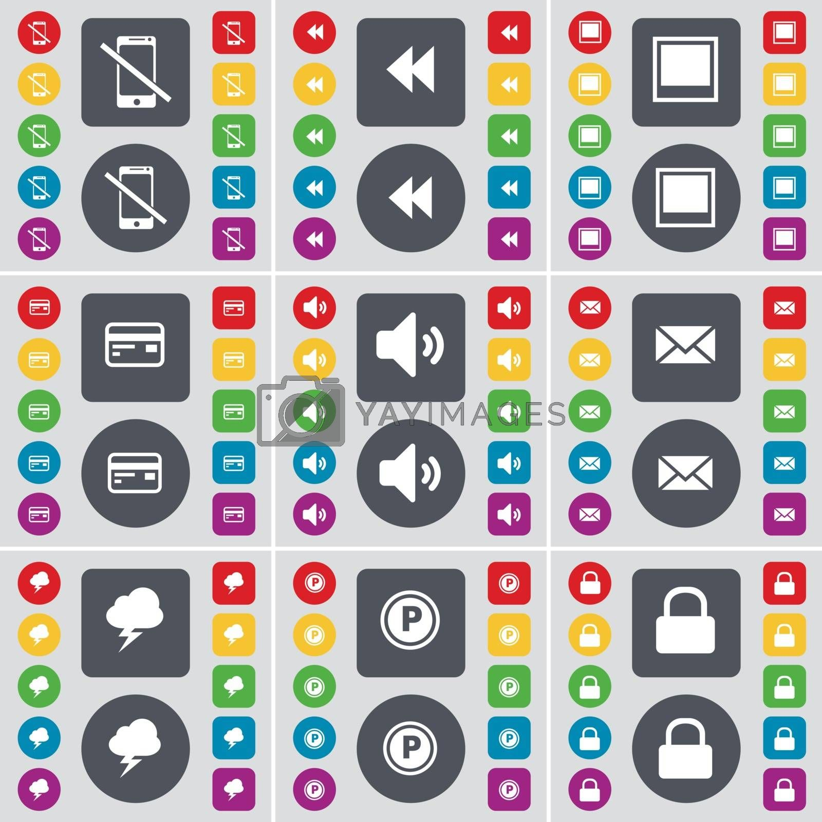 Smartphone, Rewind, Window, Credit card, Sound, Message, Cloud, Parking, Lock icon symbol. A large set of flat, colored buttons for your design. Vector by serhii_lohvyniuk
