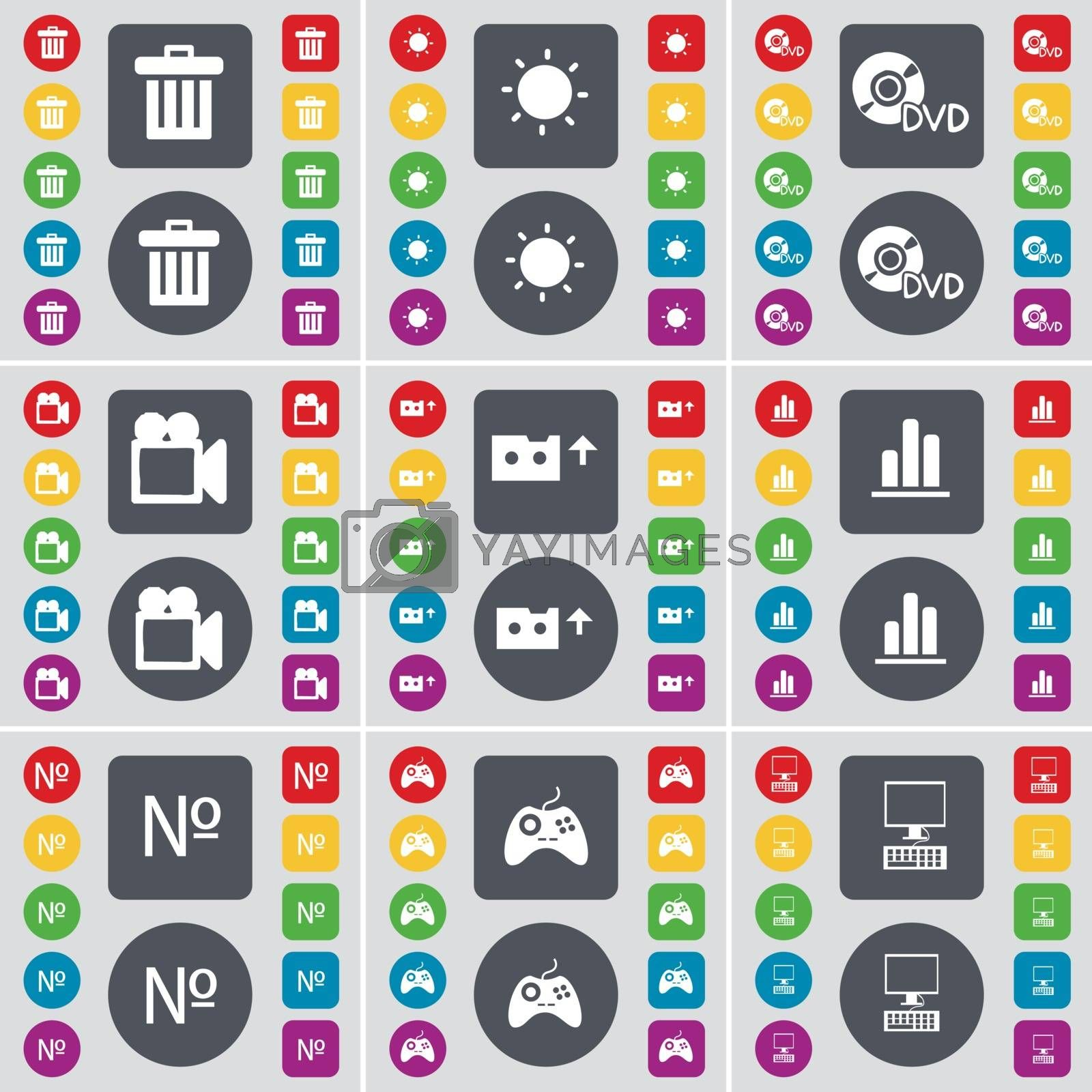 Royalty free image of Trash can, Light, DVD, Film camera, Cassette, Diagram, Number, Gamepad, PC icon symbol. A large set of flat, colored buttons for your design. Vector by serhii_lohvyniuk
