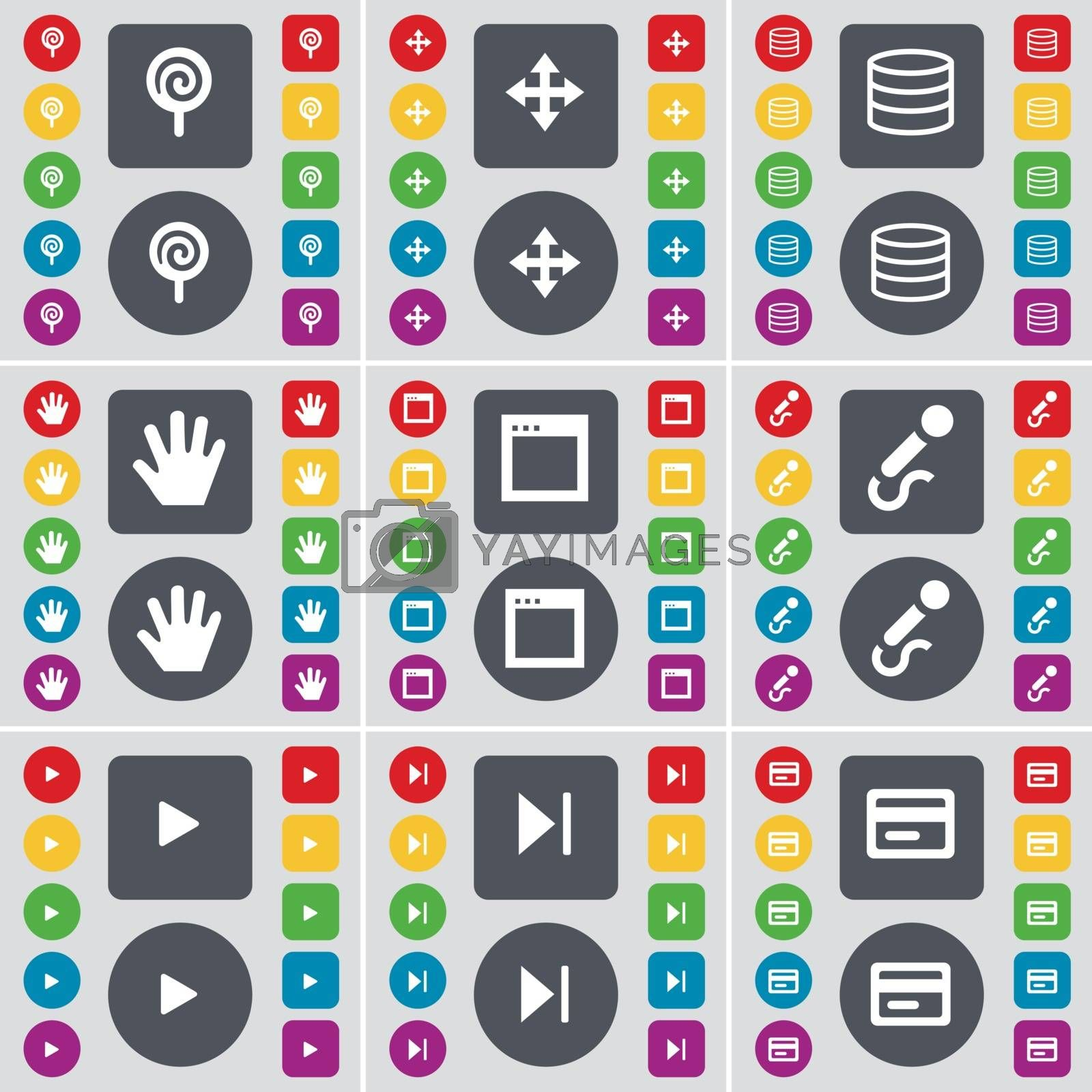 Royalty free image of Lollipop, Moving, Database, Hand, Window, Microphone, Play, Media skip, Credit card icon symbol. A large set of flat, colored buttons for your design. Vector by serhii_lohvyniuk