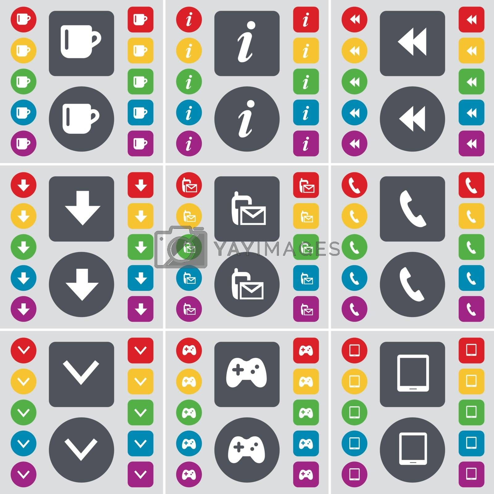 Royalty free image of Cup, Information, Rewind, Arrow down, SMS, Receiver, Arrow down, Gamepad, Tablet PC icon symbol. A large set of flat, colored buttons for your design. Vector by serhii_lohvyniuk