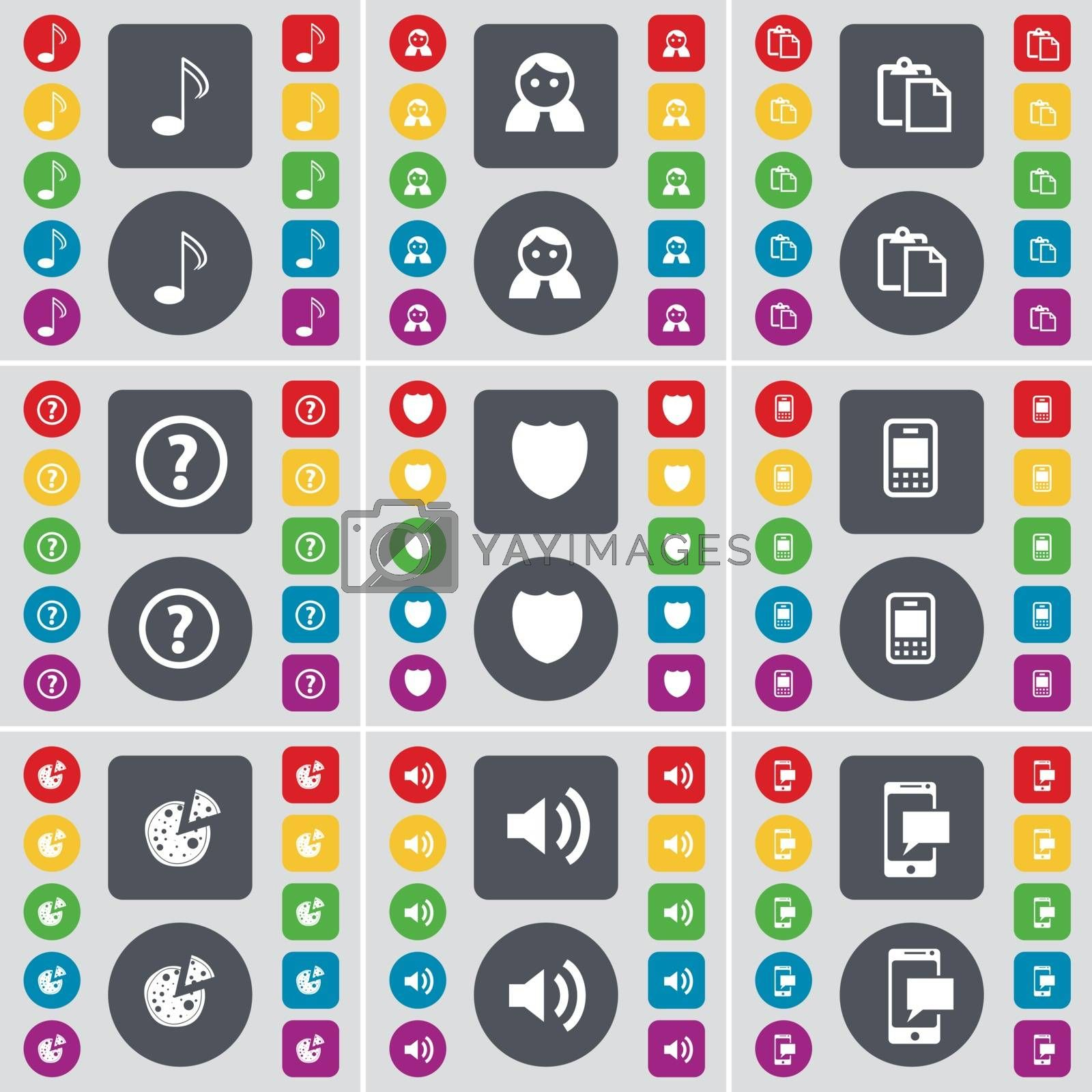 Note, Avatar, Survey, Question mark, Badge, Mobile phone, Pizza, Sound, SMS icon symbol. A large set of flat, colored buttons for your design. Vector by serhii_lohvyniuk