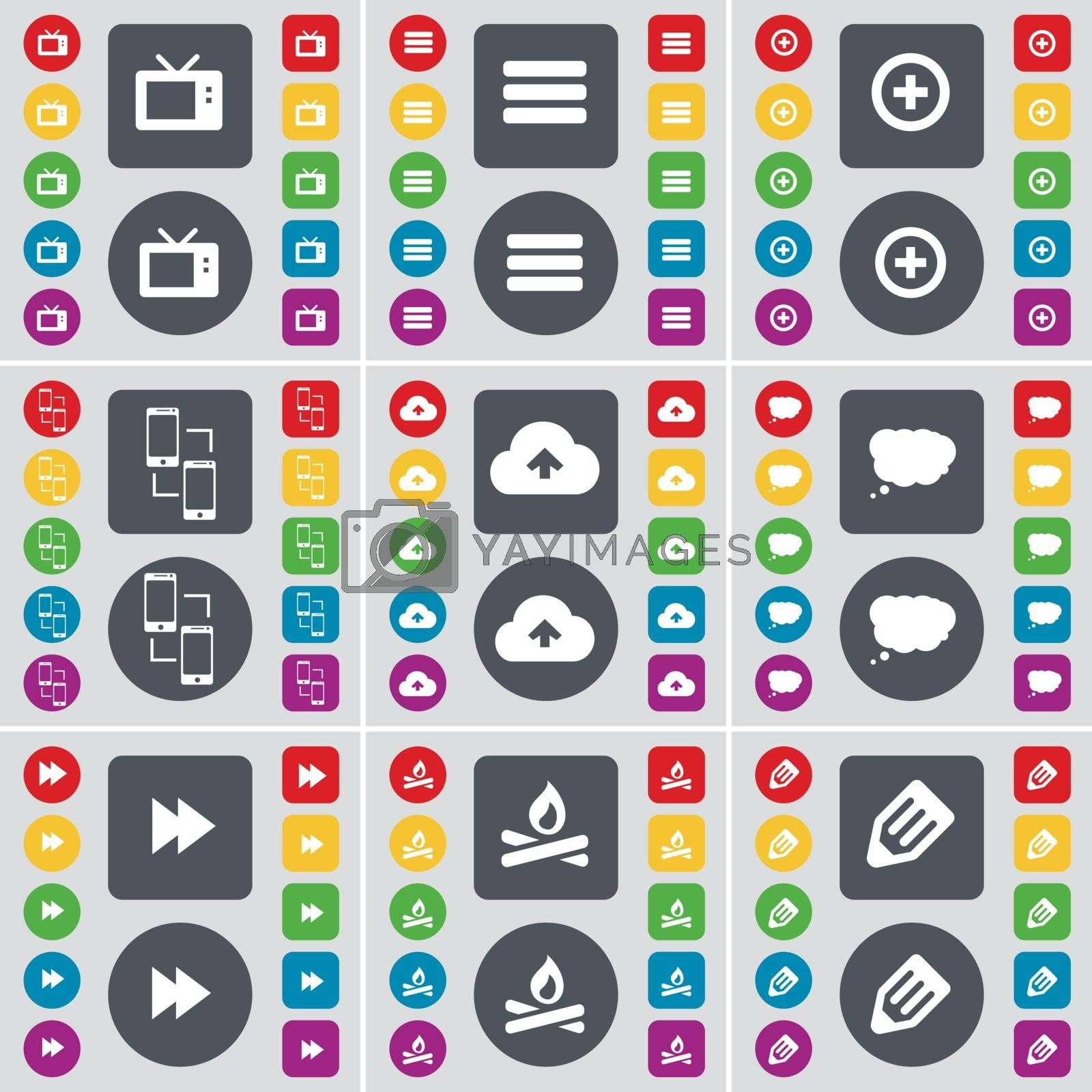 Royalty free image of Retro TV, Apps, Plus, Information exchange, Cloud, Chat cloud, Rewind, Campfire, Pencil icon symbol. A large set of flat, colored buttons for your design. Vector by serhii_lohvyniuk