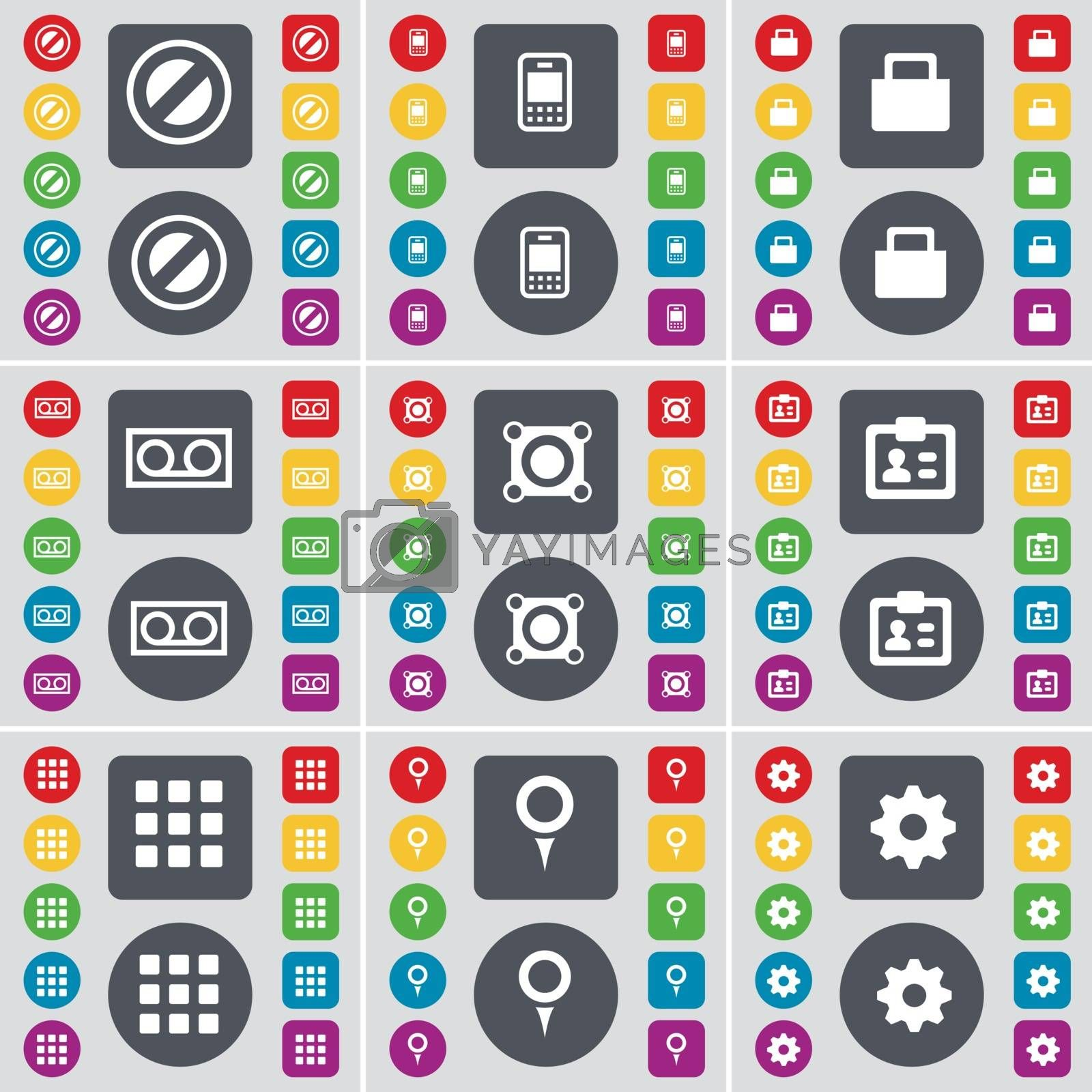Royalty free image of Stop, Mobile phone, Suitcase, Cassette, Speaker, Contact, Apps, Checkpoint, Gear icon symbol. A large set of flat, colored buttons for your design. Vector by serhii_lohvyniuk
