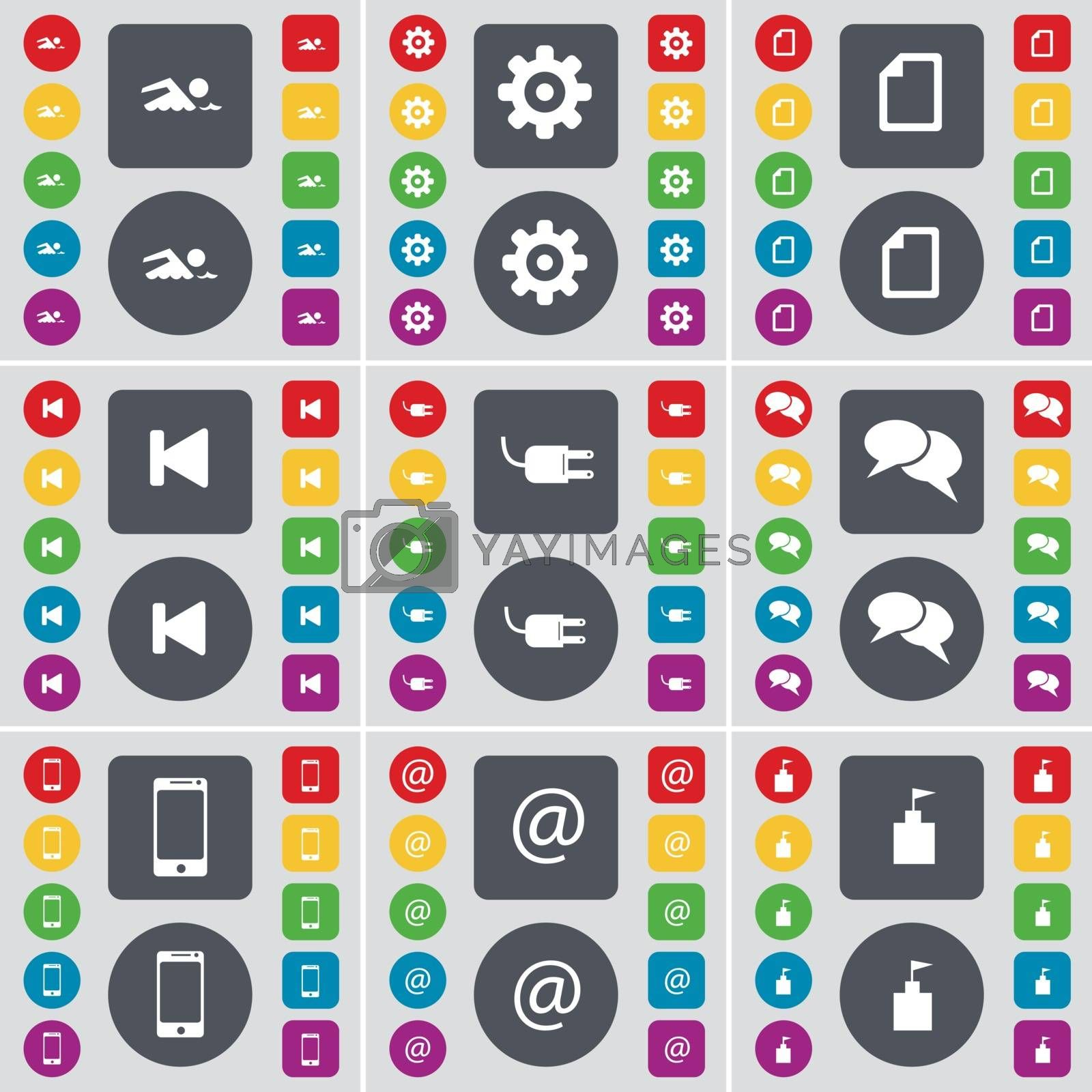 Royalty free image of Swimmer, Gear, File, Media skip, Socket, Chat, Smartphone, Mail, Flag tower icon symbol. A large set of flat, colored buttons for your design. Vector by serhii_lohvyniuk