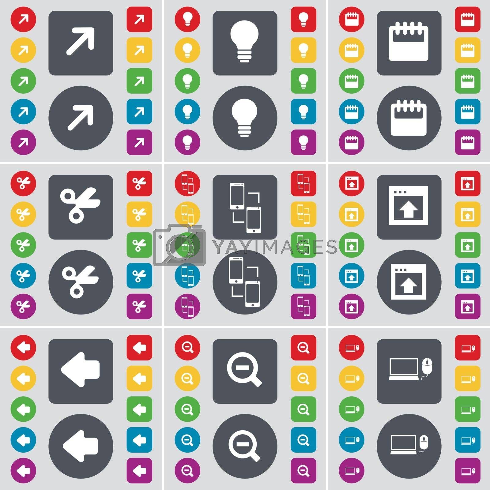 Royalty free image of Full screen, Light bulb, Calendar, Scissors, Information exchange, Window, Arrow left, Minus, Laptop icon symbol. A large set of flat, colored buttons for your design. Vector by serhii_lohvyniuk
