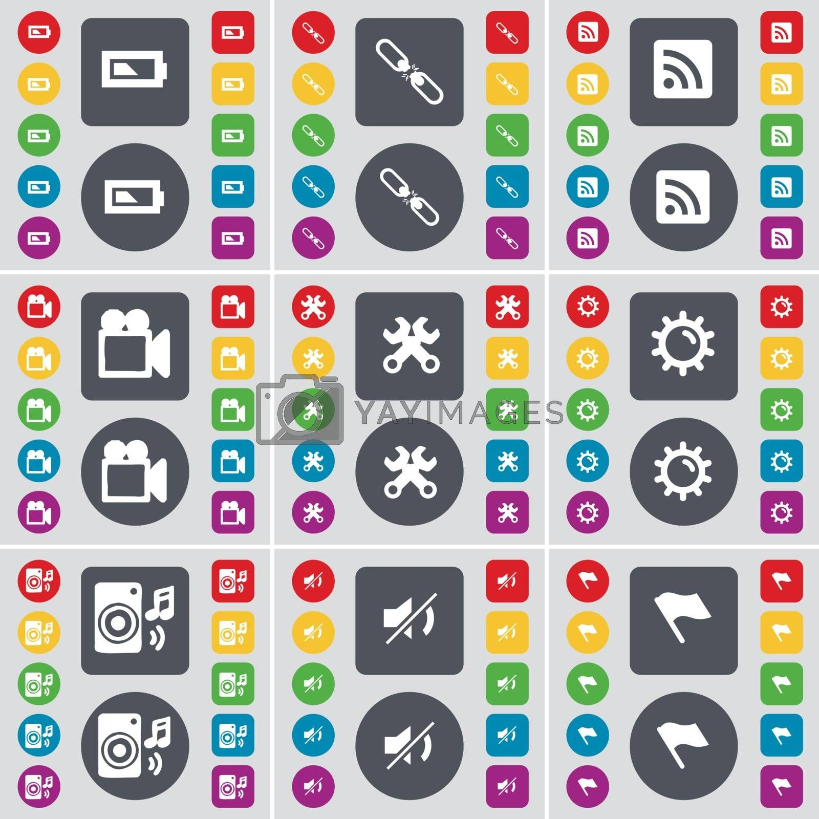 Royalty free image of Battery, Link, RSS, Film camera, Wrenches, Gear, Speaker, Mute, Flag tower icon symbol. A large set of flat, colored buttons for your design. Vector by serhii_lohvyniuk