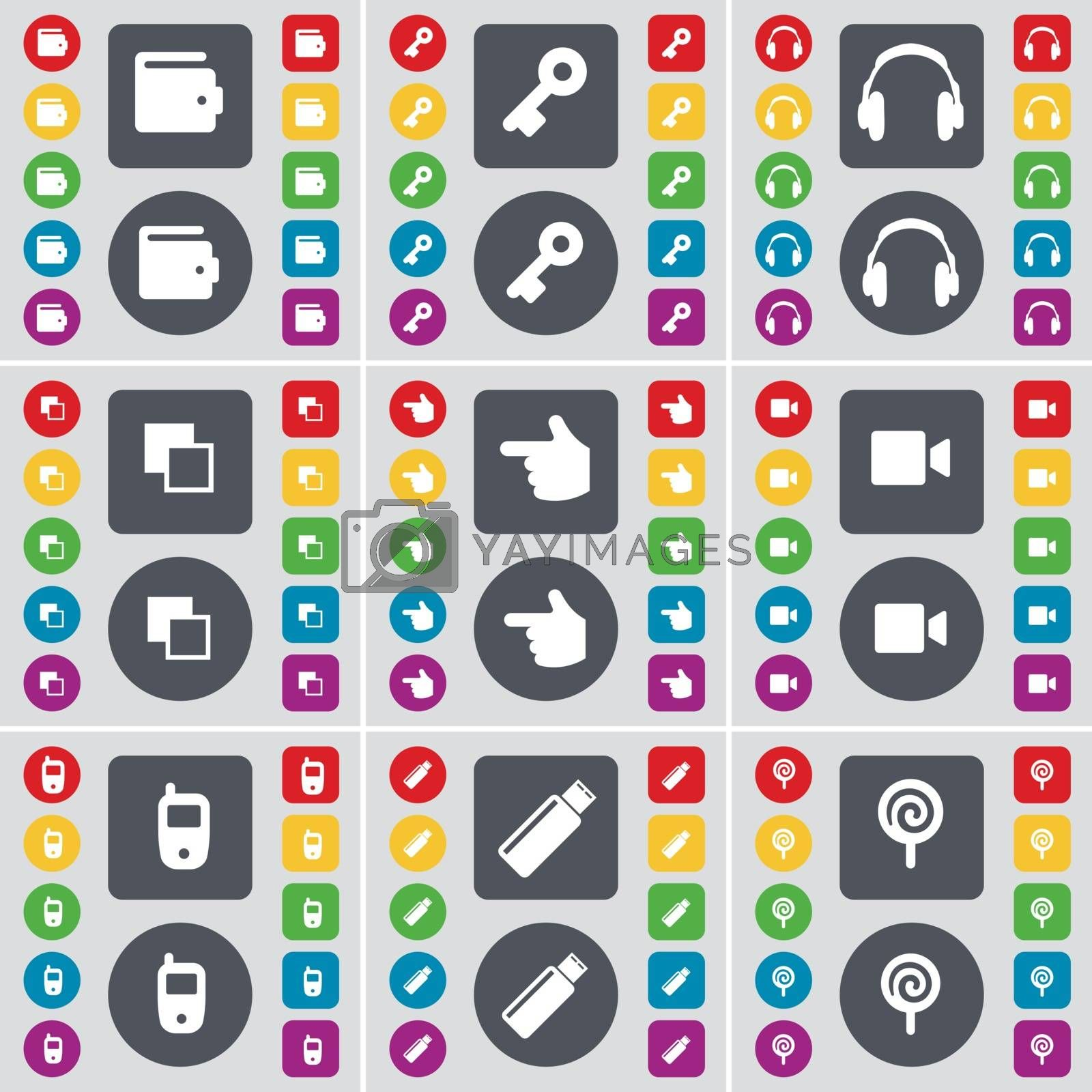 Royalty free image of Wallet, Key, Headphones,  Copy, Hand, Film camera, Mobile phone, USB, Lollipop icon symbol. A large set of flat, colored buttons for your design. Vector by serhii_lohvyniuk
