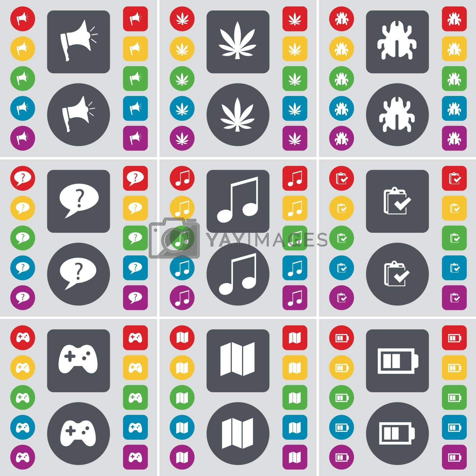 Royalty free image of Megaphone, Marijuana, Bug, Chat bubble, Note, Survey, Gamepad, Map, Battery icon symbol. A large set of flat, colored buttons for your design. Vector by serhii_lohvyniuk