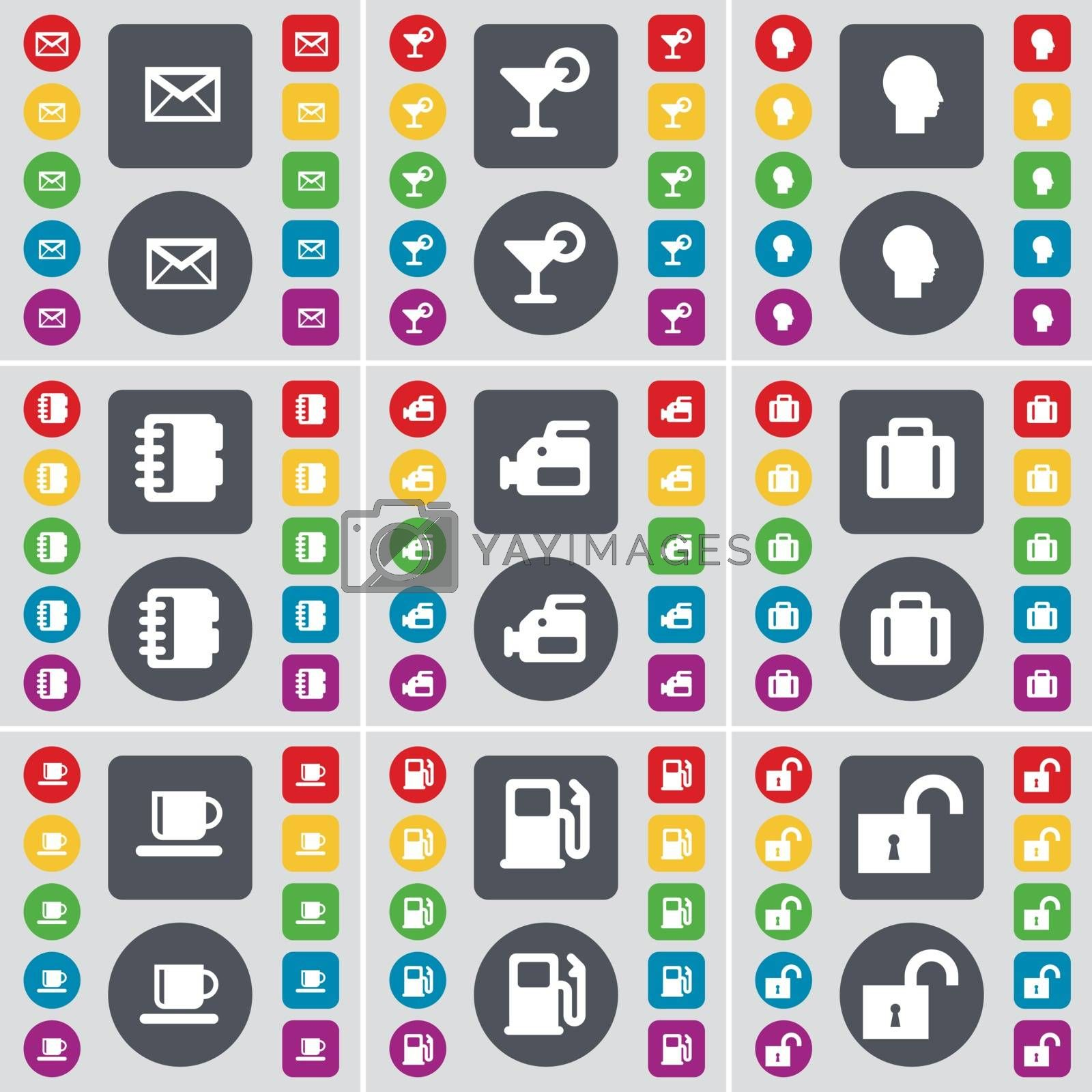 Royalty free image of Message, Cocktail, Silhouette, Notebook, Videocamera, Suitcase, Cup, Gas station, Lock icon symbol. A large set of flat, colored buttons for your design. Vector by serhii_lohvyniuk