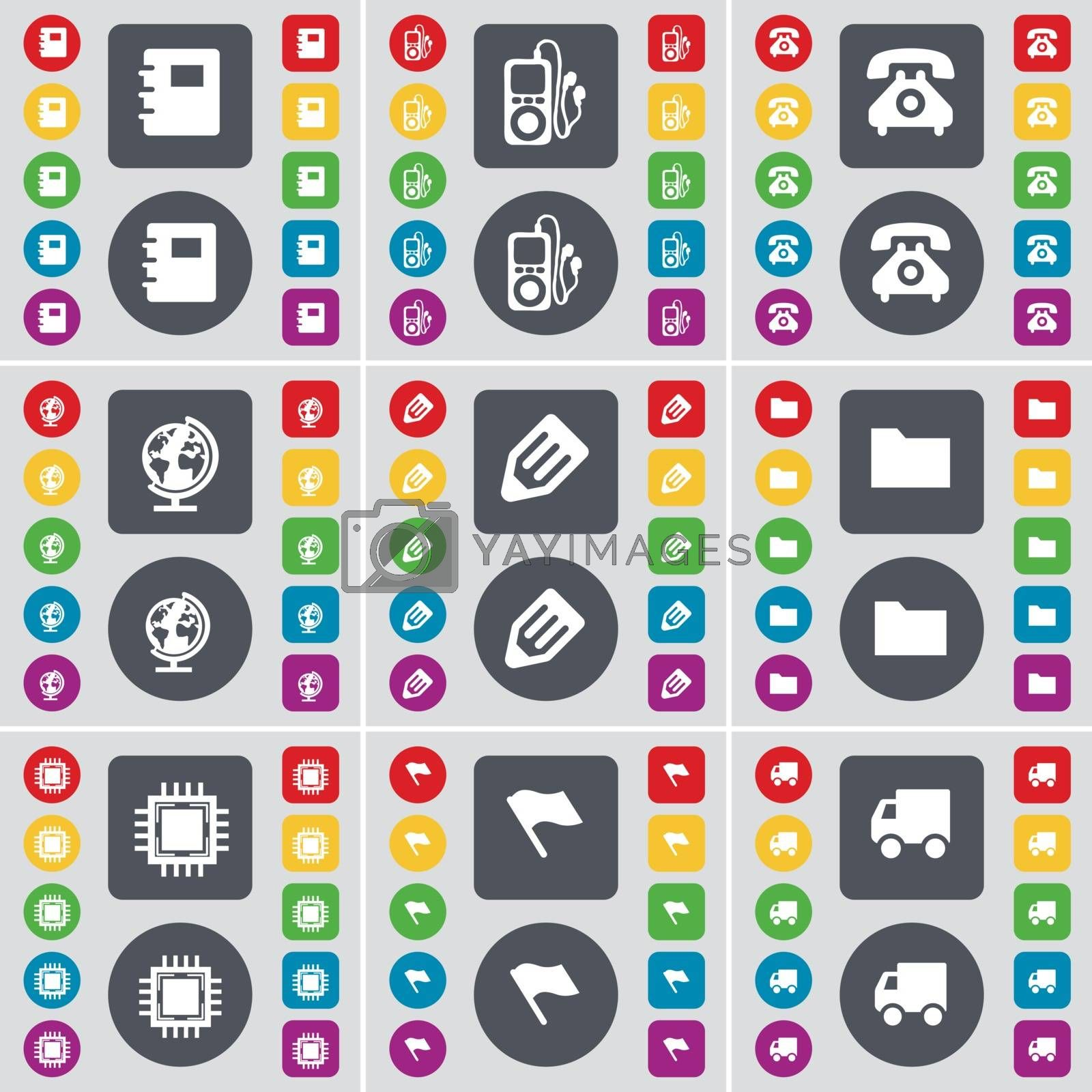 Royalty free image of Notebook, MP3 player, Retro phone, Globe, Pencil, Folder, Proces icon symbol. A large set of flat, colored buttons for your design. Vector by serhii_lohvyniuk
