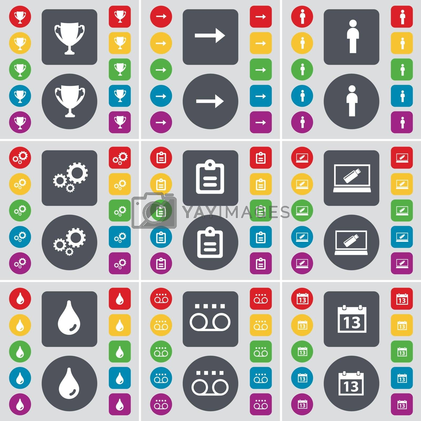 Cup, Arrow right, Silhouette, Gear, Survey, Laptop, Drop, Cassette, Calendar icon symbol. A large set of flat, colored buttons for your design. Vector by serhii_lohvyniuk