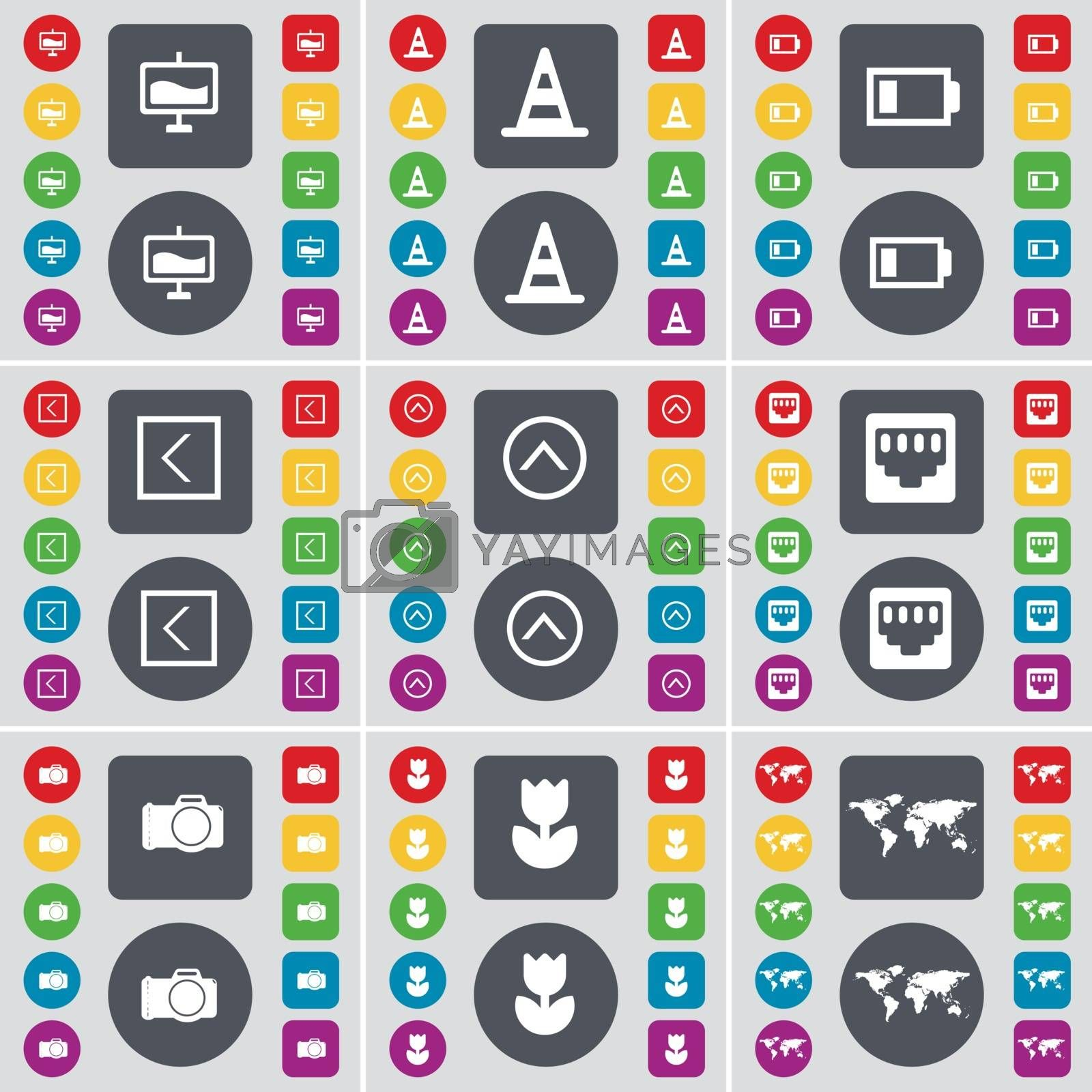 Royalty free image of Graph, Cone, Battery, Arrow left, Arrow up, LAN socket, Camera, Flower, Globe icon symbol. A large set of flat, colored buttons for your design. Vector by serhii_lohvyniuk