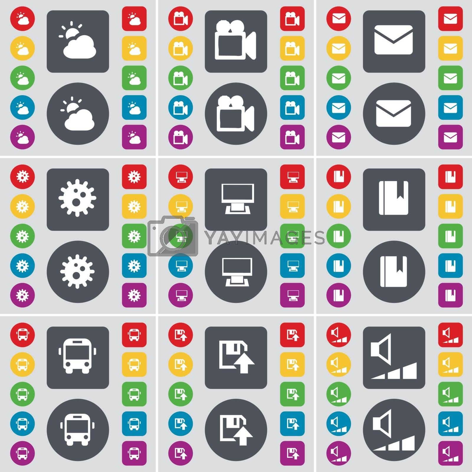 Royalty free image of Cloud, Film camera, Message, Gear, Monitor, Dictionary, Bus, Floppy, Video icon symbol. A large set of flat, colored buttons for your design. Vector by serhii_lohvyniuk