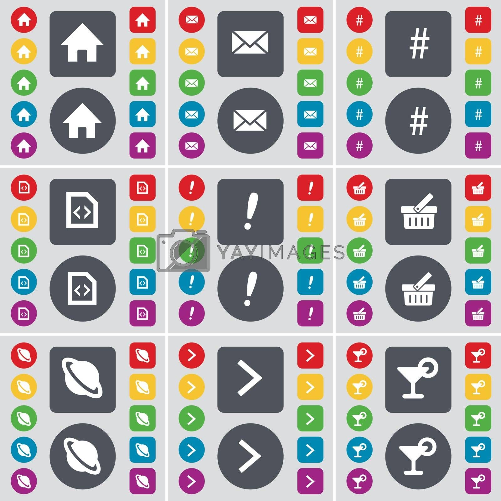 Royalty free image of House, Message, Hashtag, File, Exclamation mark, Basket, Planet, Arrow right, Cocktail icon symbol. A large set of flat, colored buttons for your design. Vector by serhii_lohvyniuk