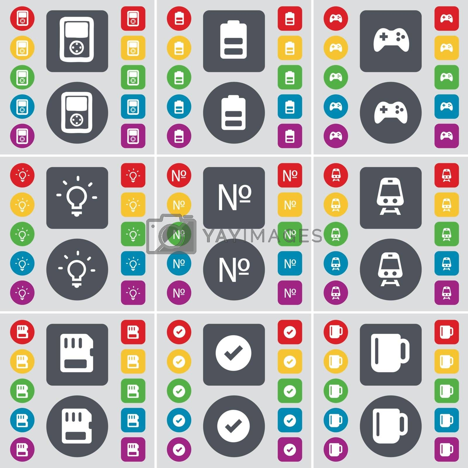 Royalty free image of Player, Battery, Gamepad, Light bulb, Number, Train, SIM card, Tick, Cup icon symbol. A large set of flat, colored buttons for your design. Vector by serhii_lohvyniuk