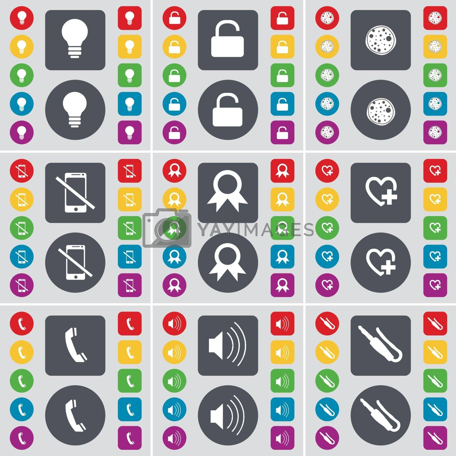 Royalty free image of Light bulb, Lock, Pizza, Smartphone, Medal, Heart, Receiver, Sound, Microphone connector icon symbol. A large set of flat, colored buttons for your design. Vector by serhii_lohvyniuk