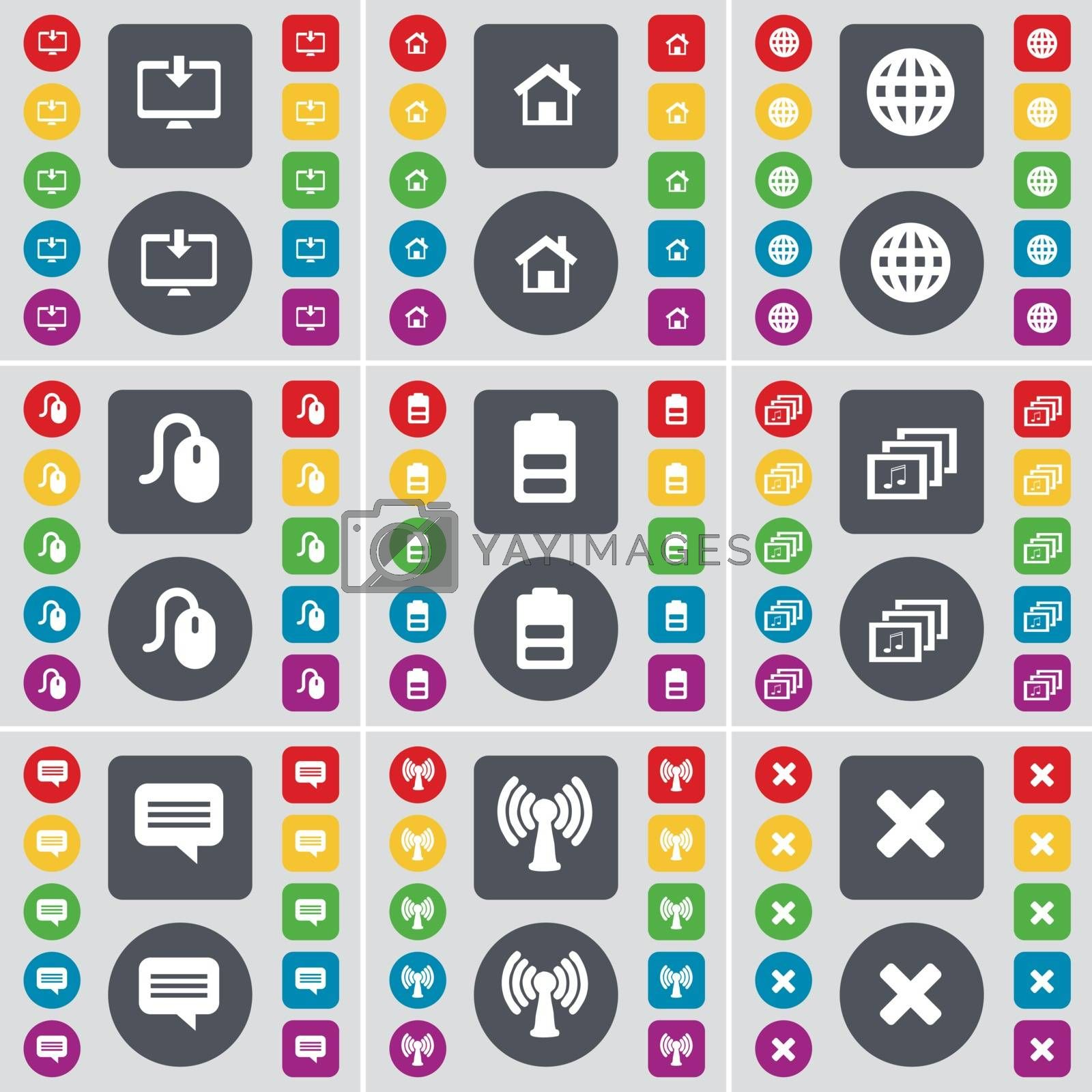 Royalty free image of Monitor, House, Globe, Mouse, Battery, Gallery, Chat bubble, Wi-Fi, Stop icon symbol. A large set of flat, colored buttons for your design. Vector by serhii_lohvyniuk