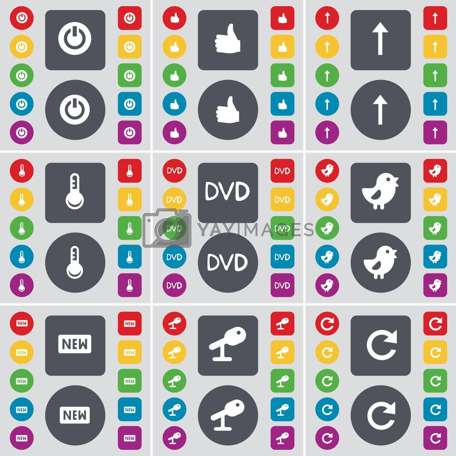 Royalty free image of Power, Like, Arrow up, Thermometer, DVD, Bird, New, Microphone, Reload icon symbol. A large set of flat, colored buttons for your design. Vector by serhii_lohvyniuk