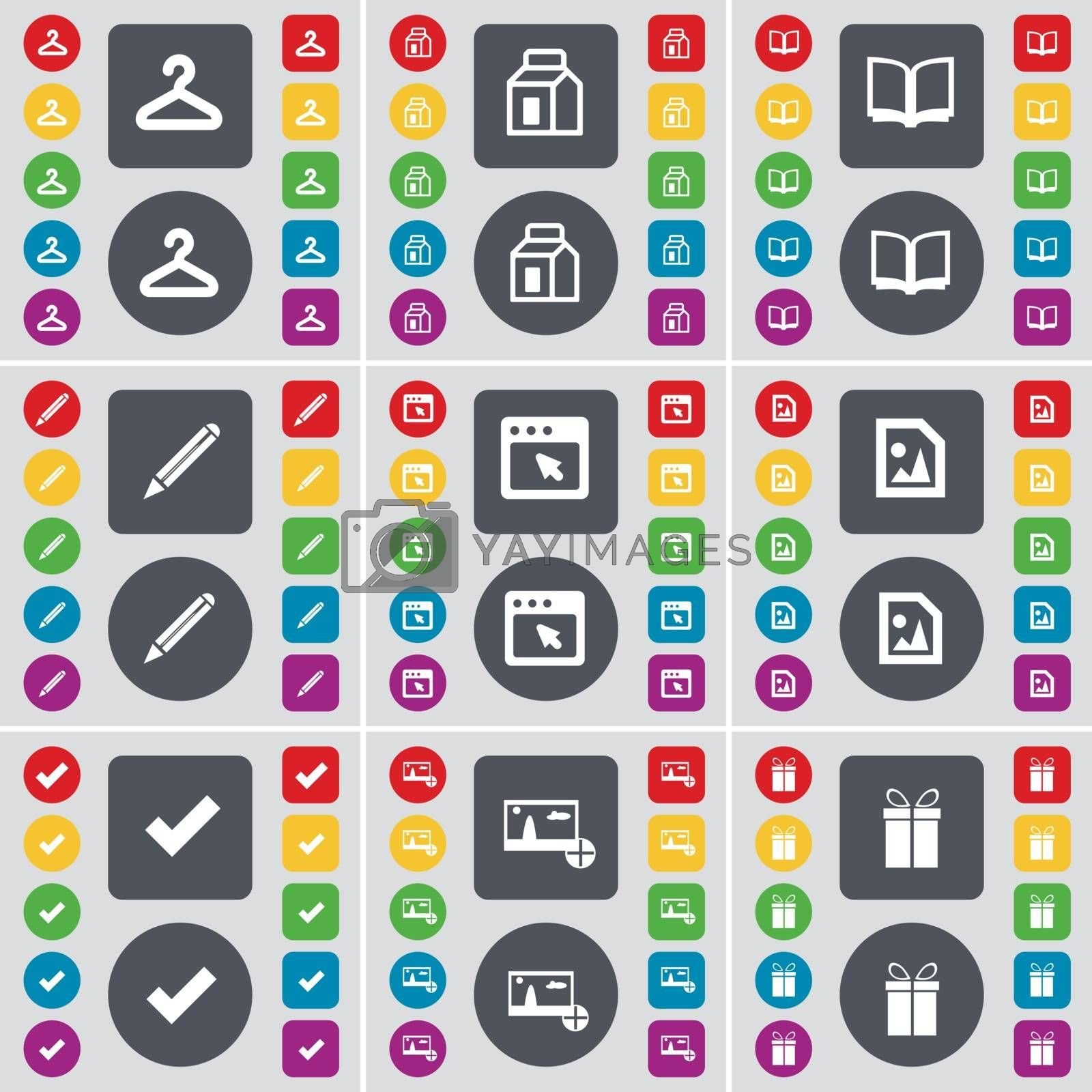 Royalty free image of Hanger, Packing, Book, Pencil, Window, Media file, Tick, Picture, Gift icon symbol. A large set of flat, colored buttons for your design. Vector by serhii_lohvyniuk