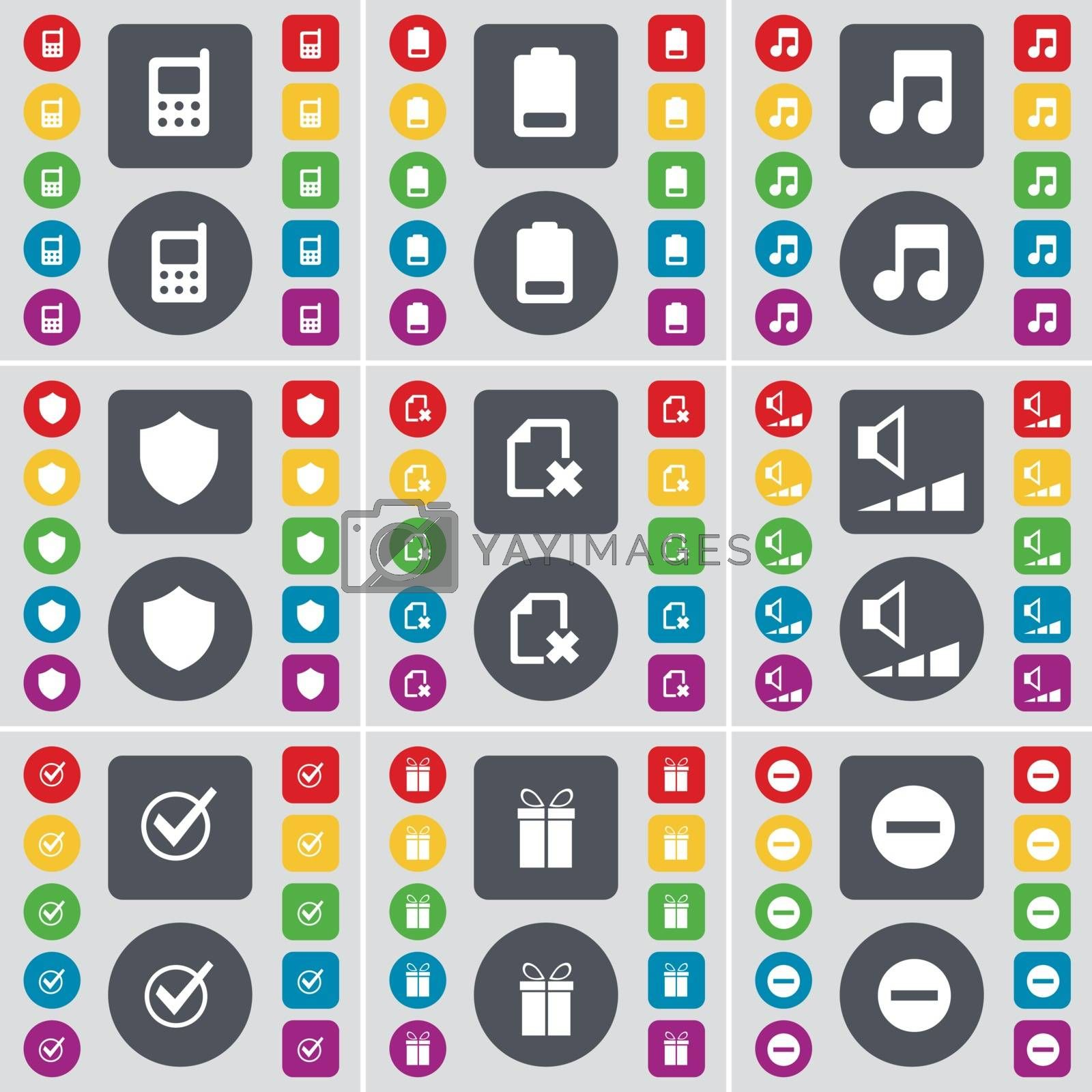 Royalty free image of Mobile phone, Battery, Note, Badge, File, Volume, Tick, Gift, Minus icon symbol. A large set of flat, colored buttons for your design. Vector by serhii_lohvyniuk