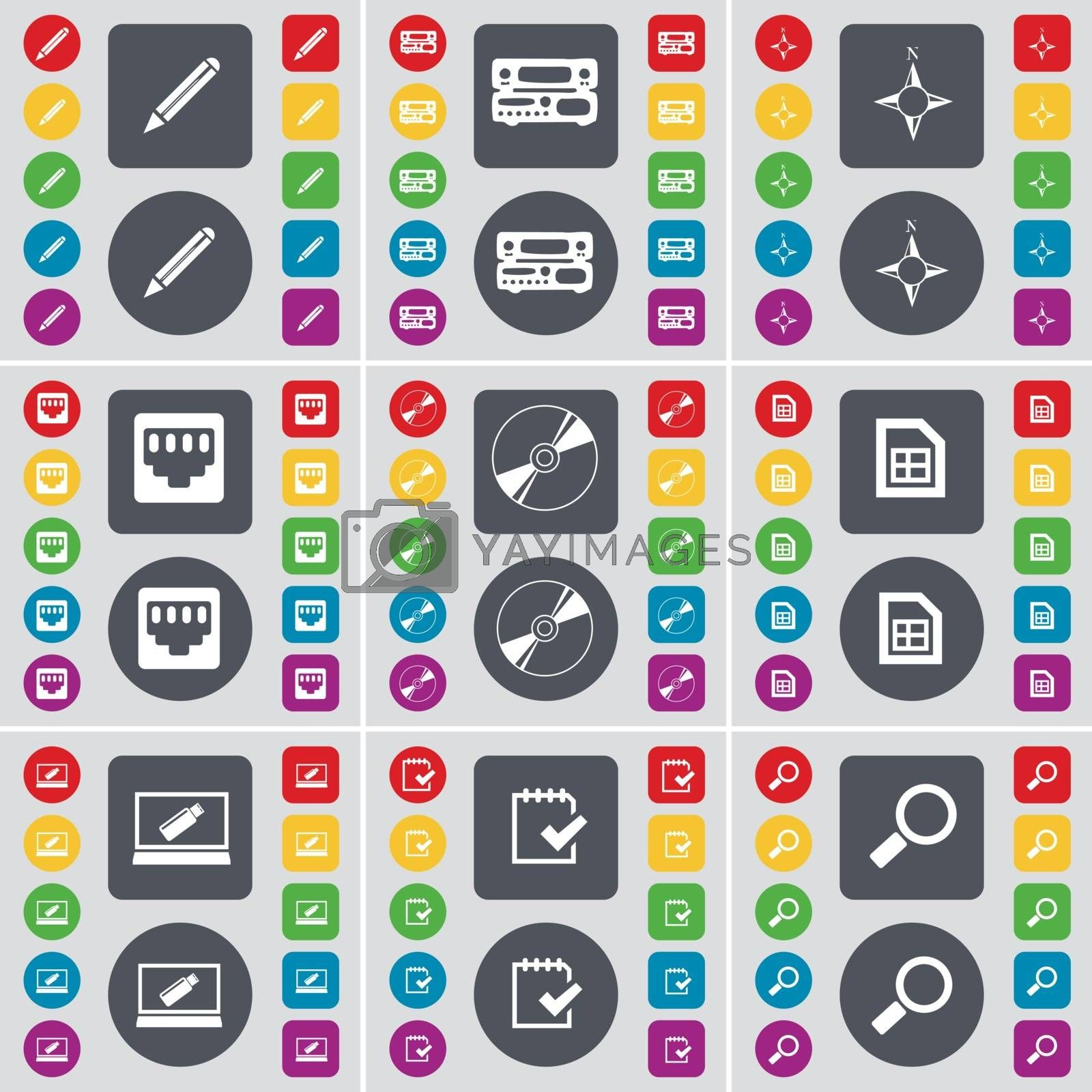 Royalty free image of Pencil, Record-player, Compass, LAN socket, Disk, File, Laptop, Survey, Magnifying glass icon symbol. A large set of flat, colored buttons for your design. Vector by serhii_lohvyniuk