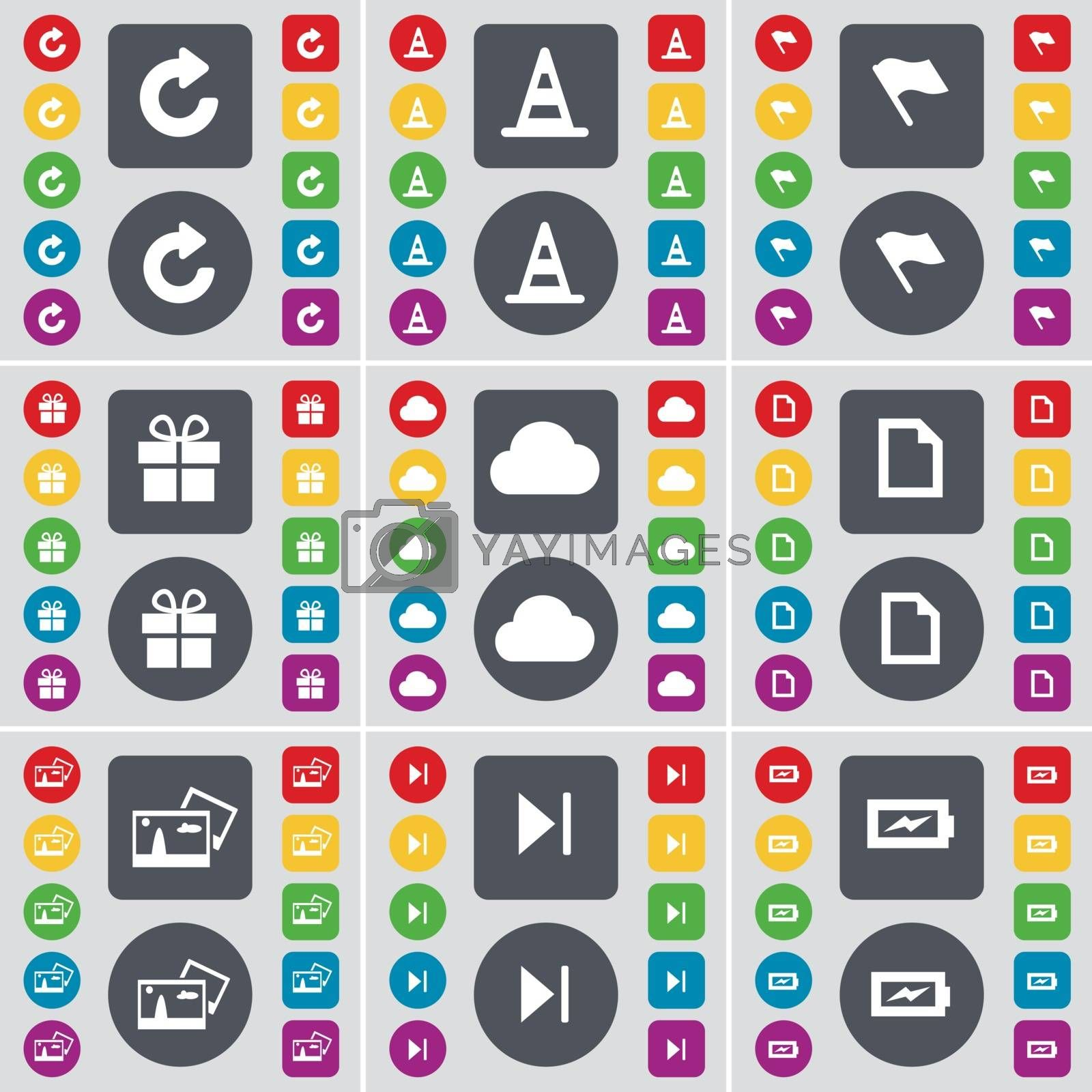 Royalty free image of Reload, Cone, Flag, Gift, Cloud, File, Picture, Media skip, Charging icon symbol. A large set of flat, colored buttons for your design. Vector by serhii_lohvyniuk