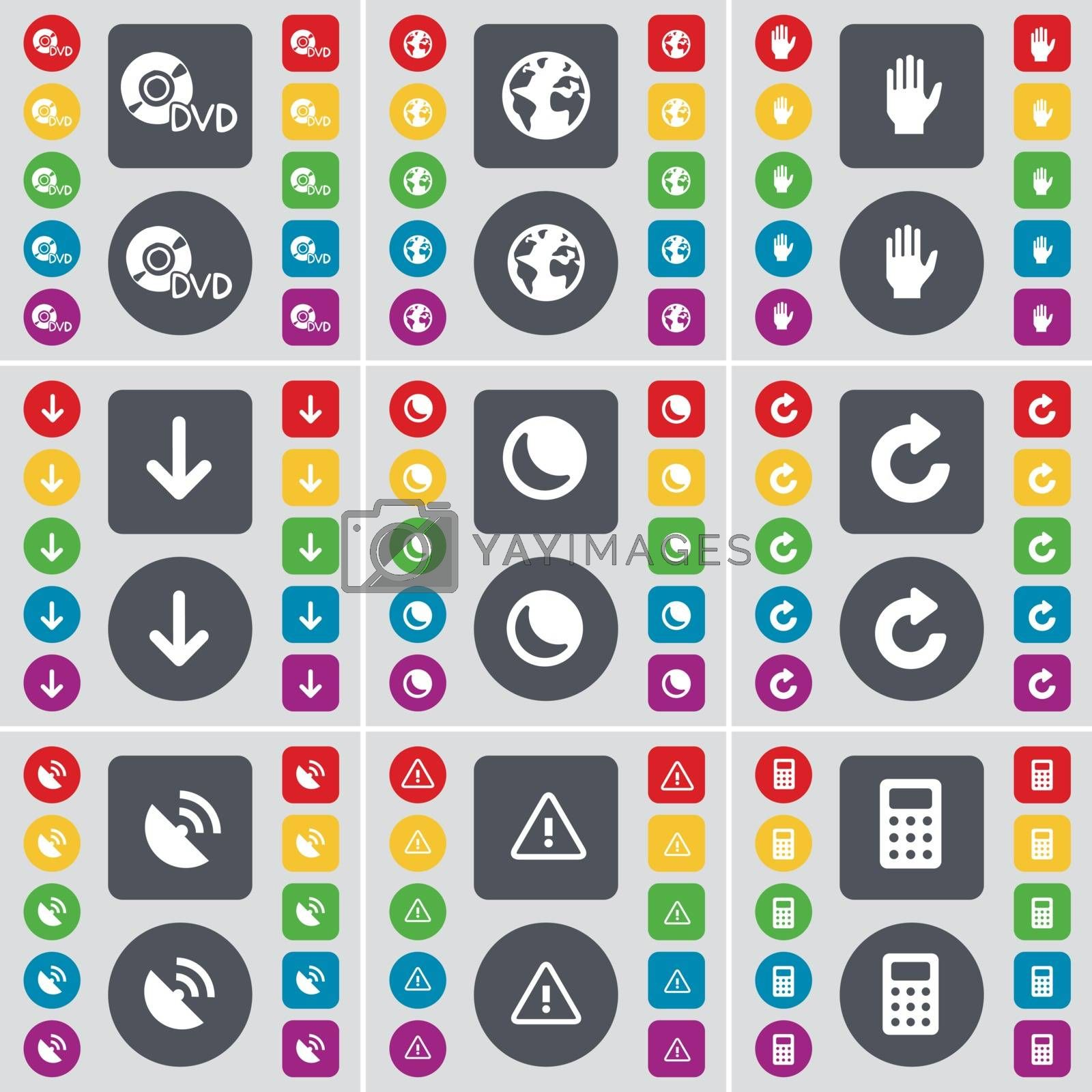 Royalty free image of DVD, Planet, Hand, Arrow down, Moon, Reload, Satellite dish, Warning, Calculator icon symbol. A large set of flat, colored buttons for your design. Vector by serhii_lohvyniuk