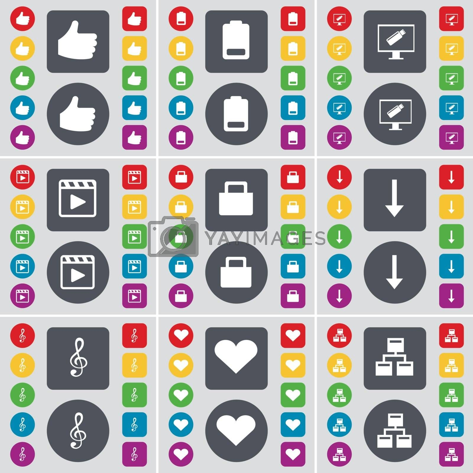 Royalty free image of Like, Battery, Monitor, Media player, Suitcase, Arrow down, Clef, Heart, Network icon symbol. A large set of flat, colored buttons for your design. Vector by serhii_lohvyniuk