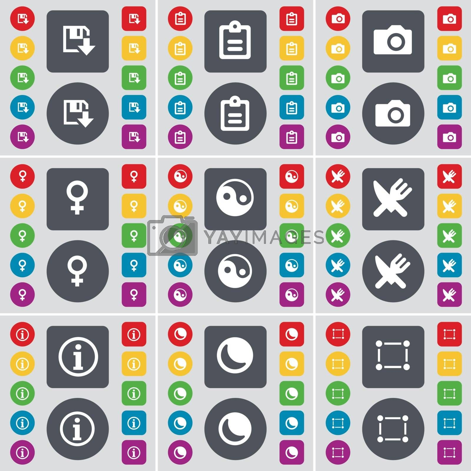 Royalty free image of Floppy, Survey, Camera, Venus symbol, Yin-Yang, Fork and knife, Information, Moon, Frame icon symbol. A large set of flat, colored buttons for your design. Vector by serhii_lohvyniuk