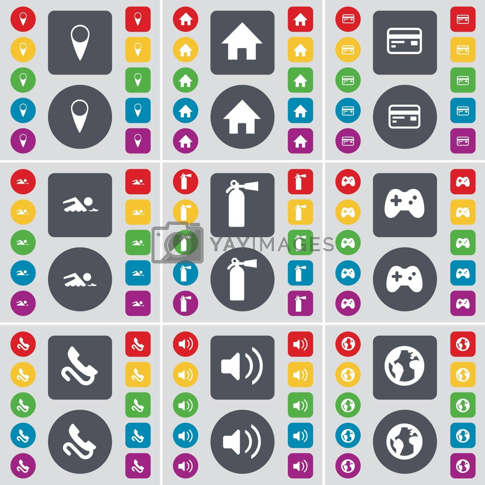 Royalty free image of Checkpoint, House, Credit card, Swimmer, File extinguisher, Gamepad, Receiver, Sound, Planet icon symbol. A large set of flat, colored buttons for your design. Vector by serhii_lohvyniuk
