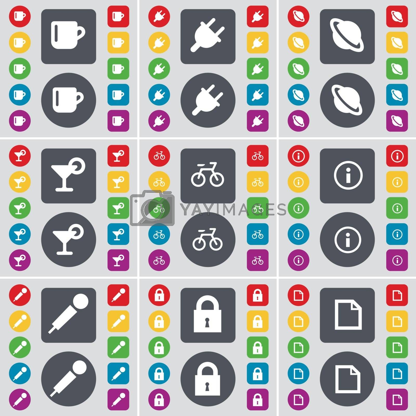 Royalty free image of Cup, Socket, Planet, Cocktail, Bicycle, Information, Microphone, Lock, File icon symbol. A large set of flat, colored buttons for your design. Vector by serhii_lohvyniuk