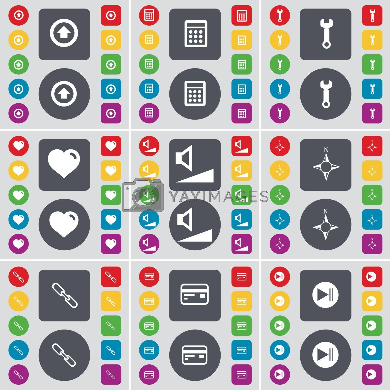 Royalty free image of Arrow up, Calculator, Wrench, Heart, Volume, Compass, Link, Credit card, Media skip icon symbol. A large set of flat, colored buttons for your design. Vector by serhii_lohvyniuk