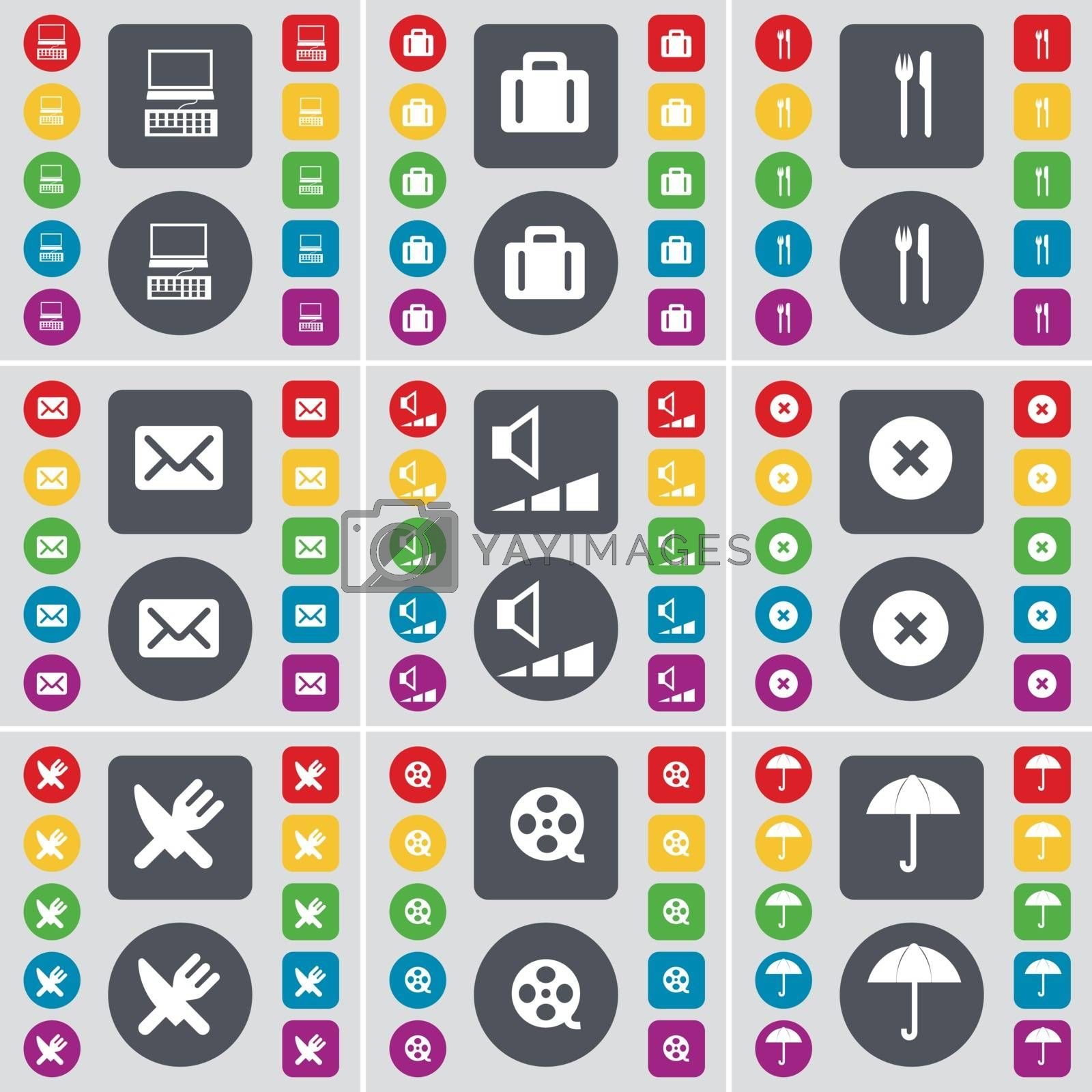 Royalty free image of PC, Suitcase, Fork and knife, Message, Volume, Stop, Fork and knife, Videotape, Umbrella icon symbol. A large set of flat, colored buttons for your design. Vector by serhii_lohvyniuk