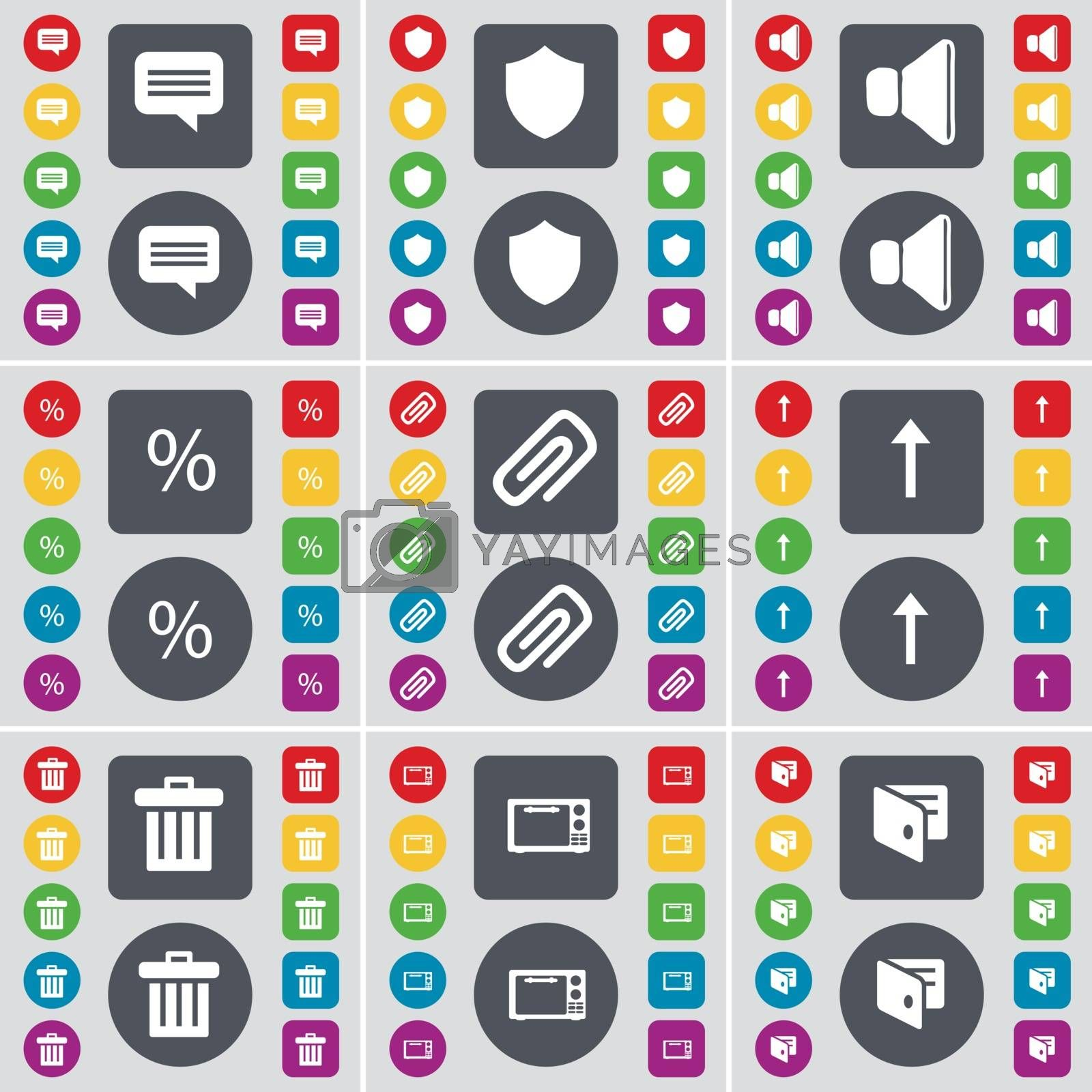 Royalty free image of Chat bubble, Badge, Sound, Percent, Clip, Arrow up, Trash can, Microwave, Wallet icon symbol. A large set of flat, colored buttons for your design. Vector by serhii_lohvyniuk