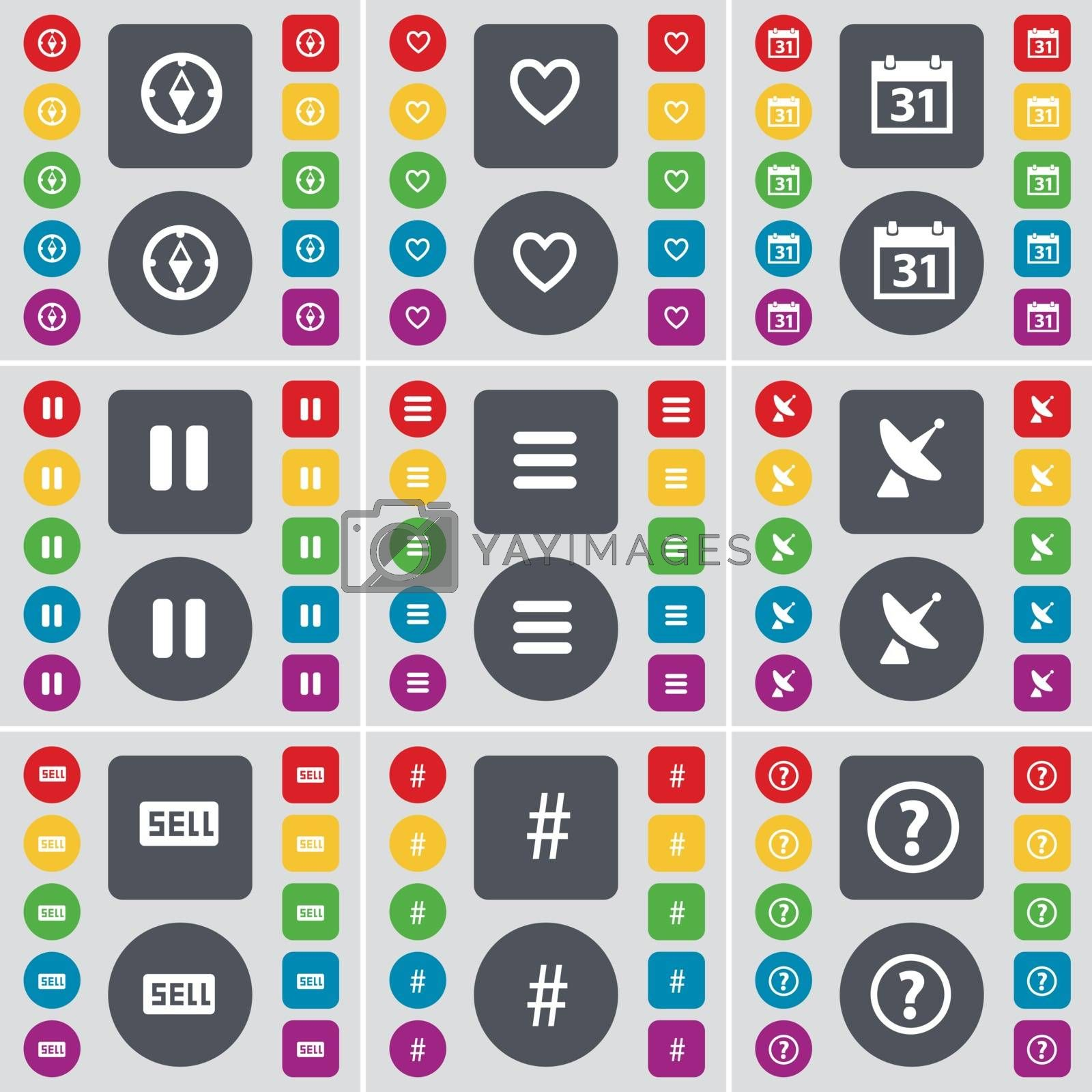 Royalty free image of Compass, Heart, Calendar, Pause, Apps, Satellite dish, Sell, Hashtag, Question mark icon symbol. A large set of flat, colored buttons for your design. Vector by serhii_lohvyniuk