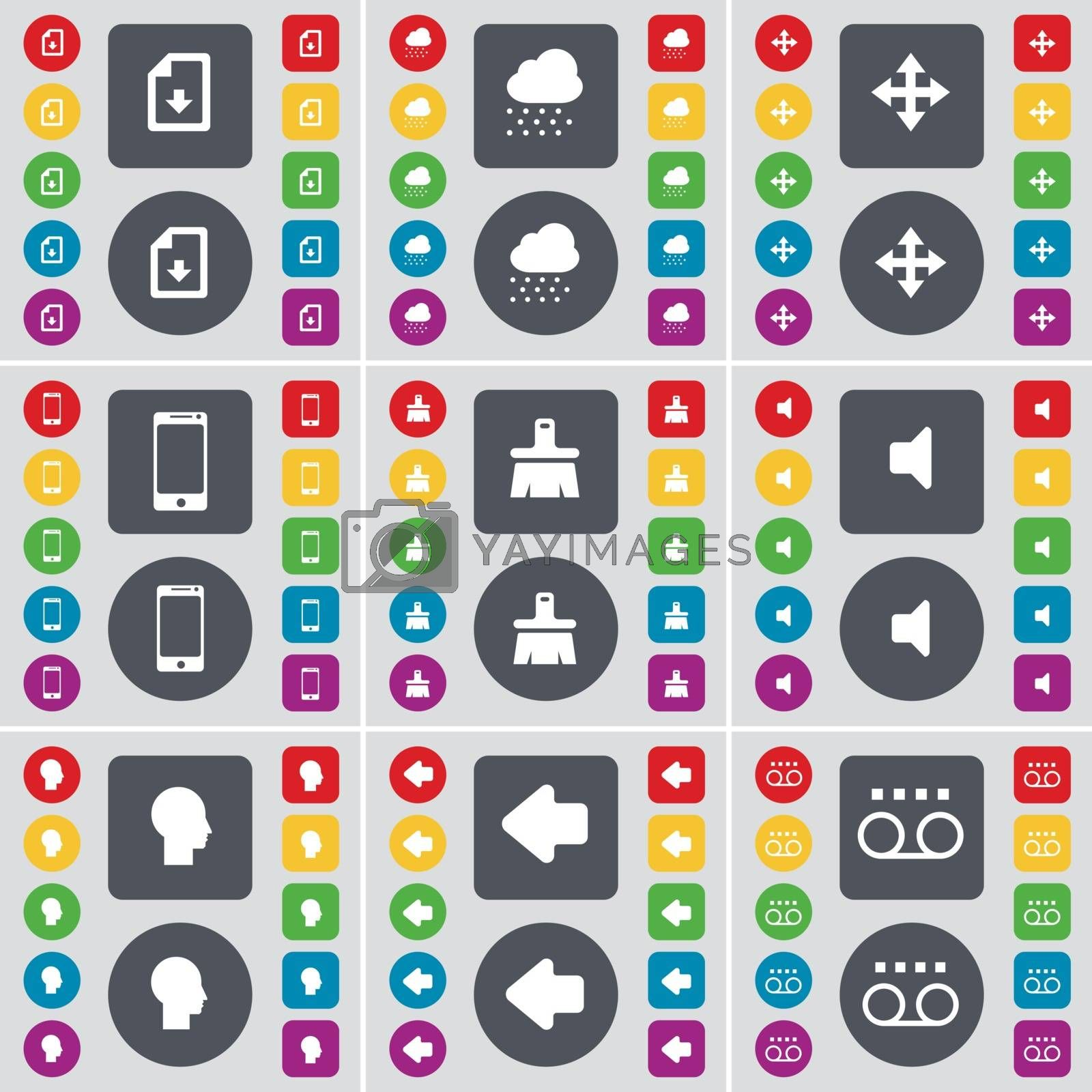 Royalty free image of Download file, Cloud, Moving, Smartphone, Brush, Sound, Silhouette, Arrow left, Cassette icon symbol. A large set of flat, colored buttons for your design. Vector by serhii_lohvyniuk
