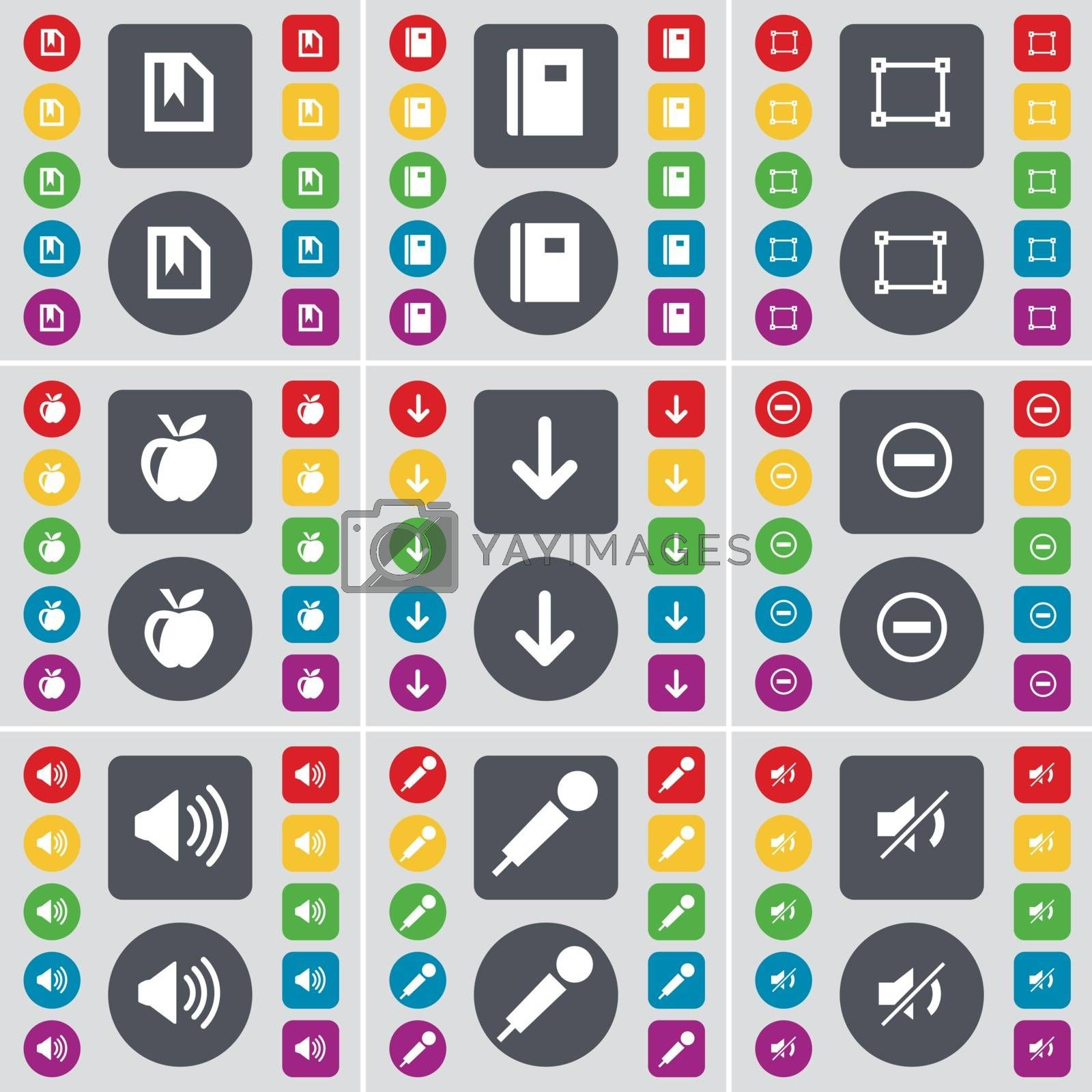 Royalty free image of File, Notebook, Frame, Apple, Arrow down, Minus, Sound, Microphone, Mute icon symbol. A large set of flat, colored buttons for your design. Vector by serhii_lohvyniuk