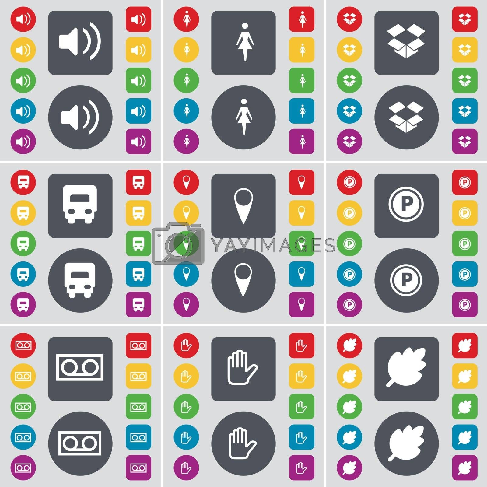 Royalty free image of Sound, Silhouette, Dropbox, Truck, Checkpoint, Parking, Cassette, Hand, Leaf icon symbol. A large set of flat, colored buttons for your design. Vector by serhii_lohvyniuk