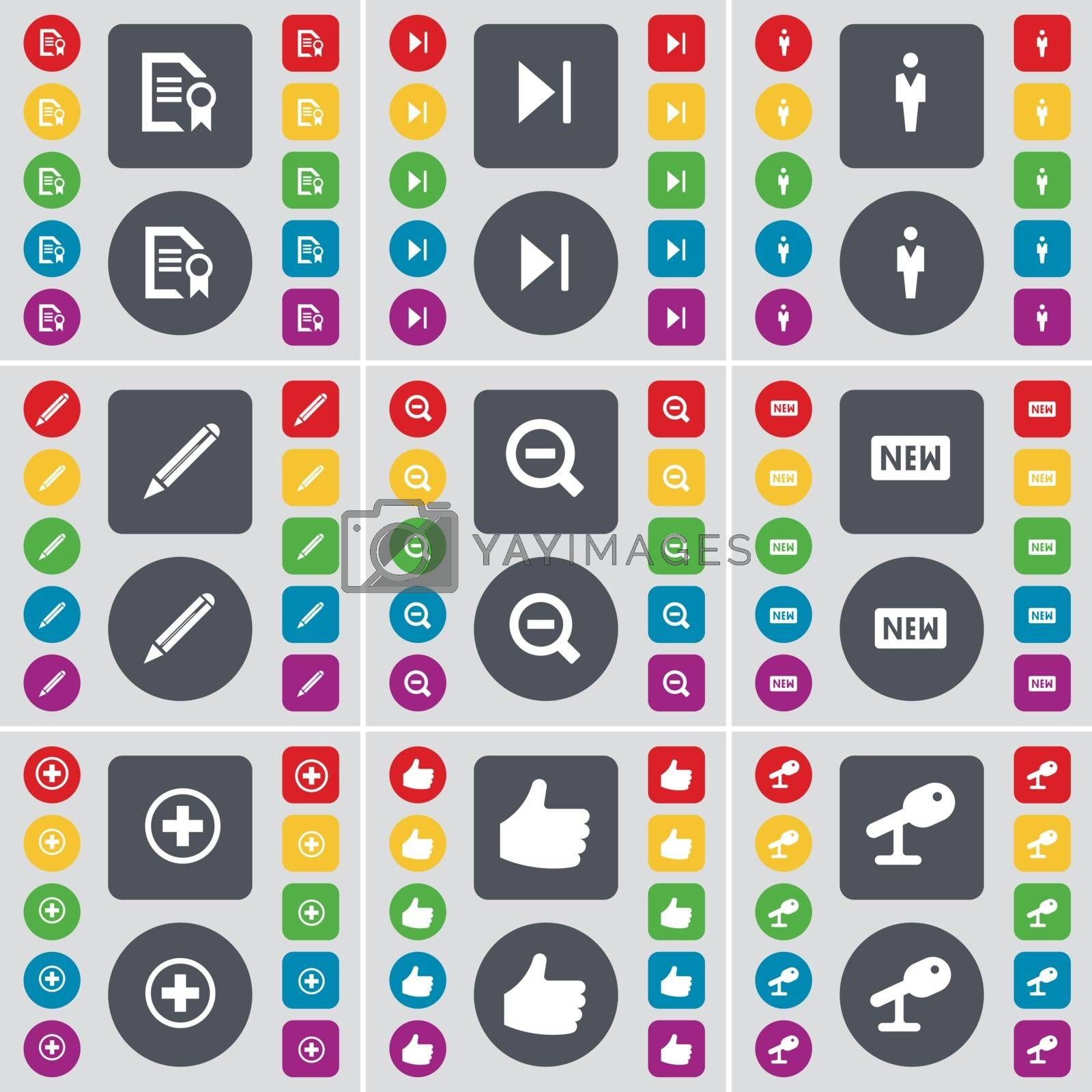 Royalty free image of Text file, Media skip, Silhouette, Pencil, Magnifying glass, New, Plus, Like, Microphone icon symbol. A large set of flat, colored buttons for your design. Vector by serhii_lohvyniuk