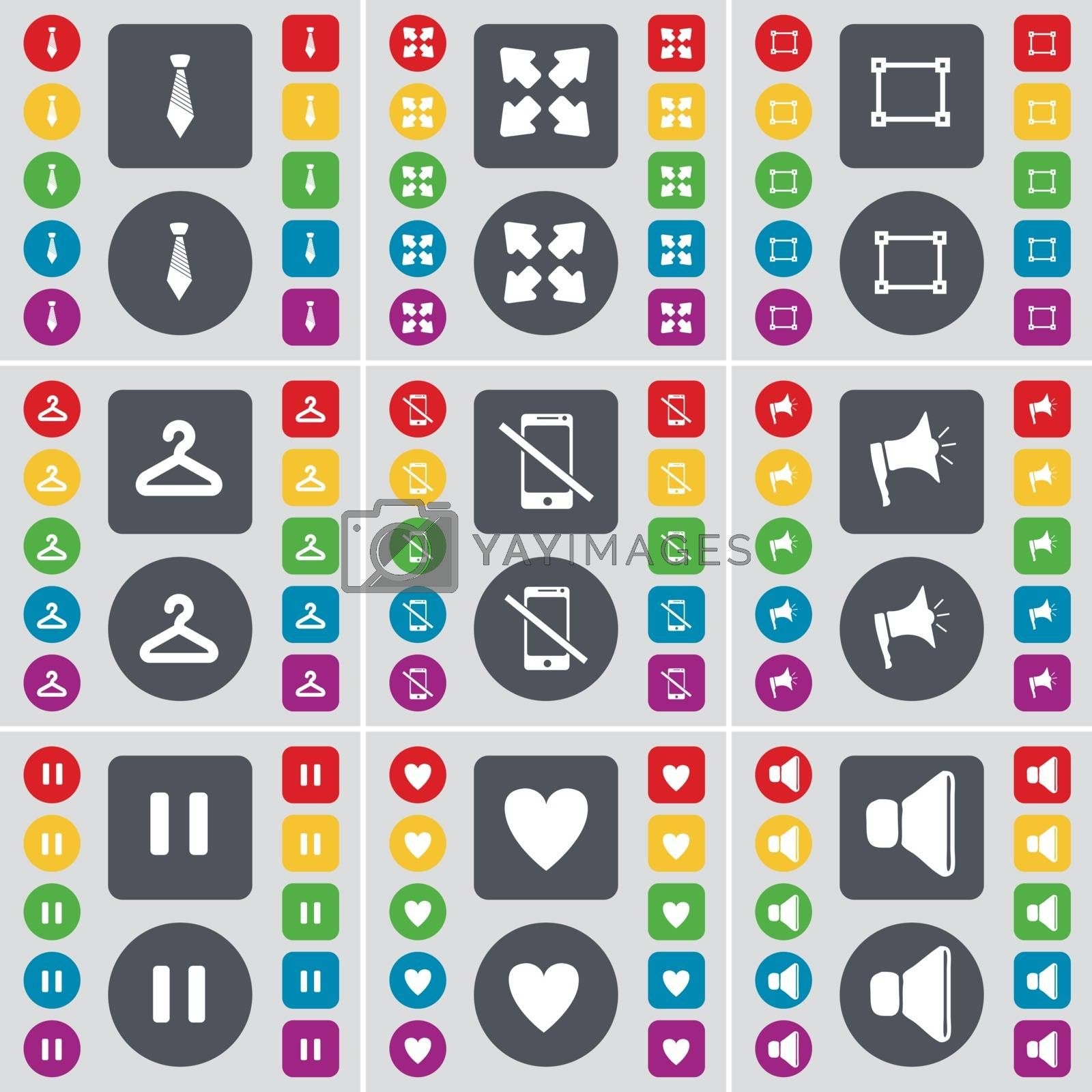 Royalty free image of Tie, Full screen, File, Hanger, Smartphone, Megaphone, Pause, Heart, Sound icon symbol. A large set of flat, colored buttons for your design. Vector by serhii_lohvyniuk