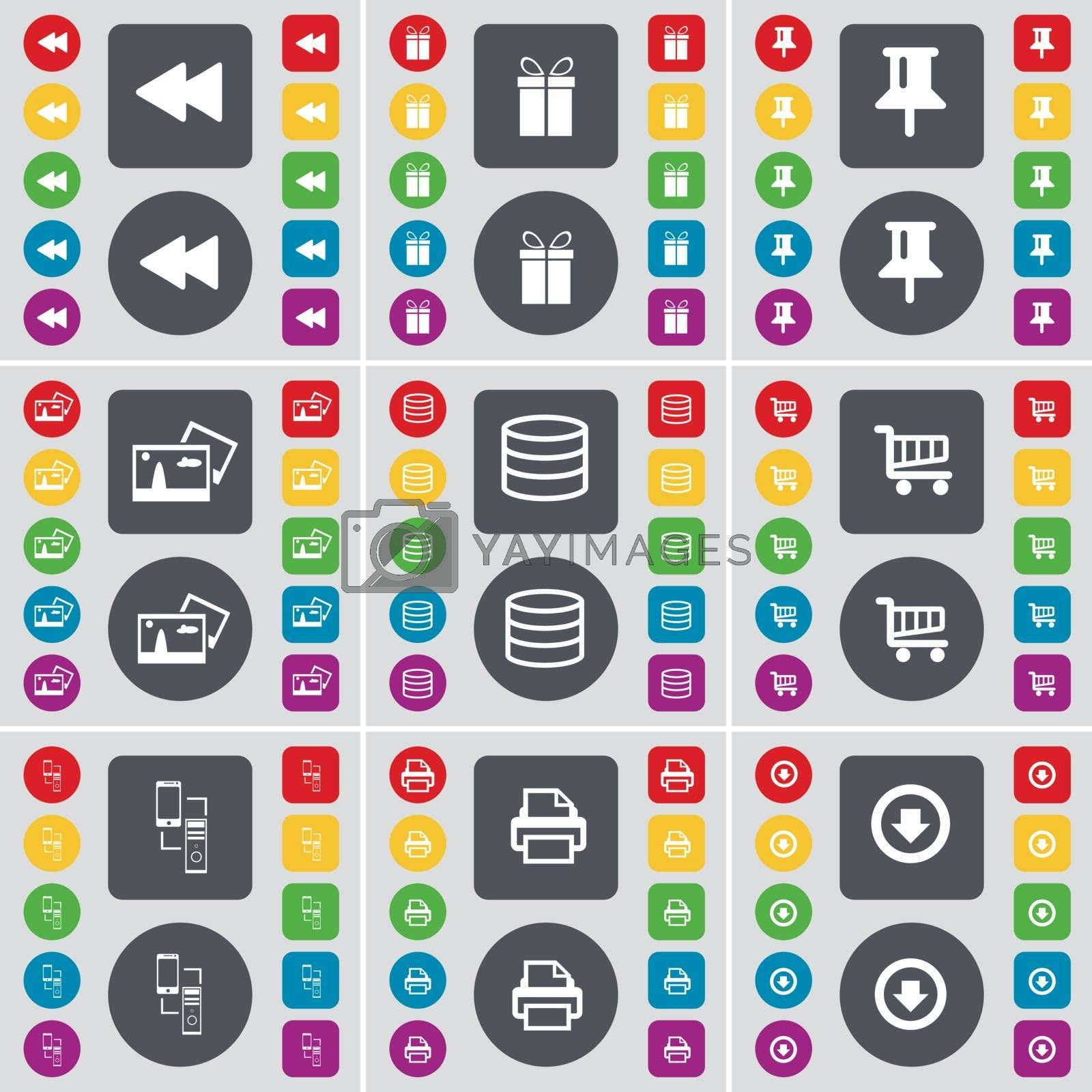 Royalty free image of Rewind, Gift, Pin, Picture, Database, Shopping cart, Information exchange, Printer, Arrow down icon symbol. A large set of flat, colored buttons for your design. Vector by serhii_lohvyniuk