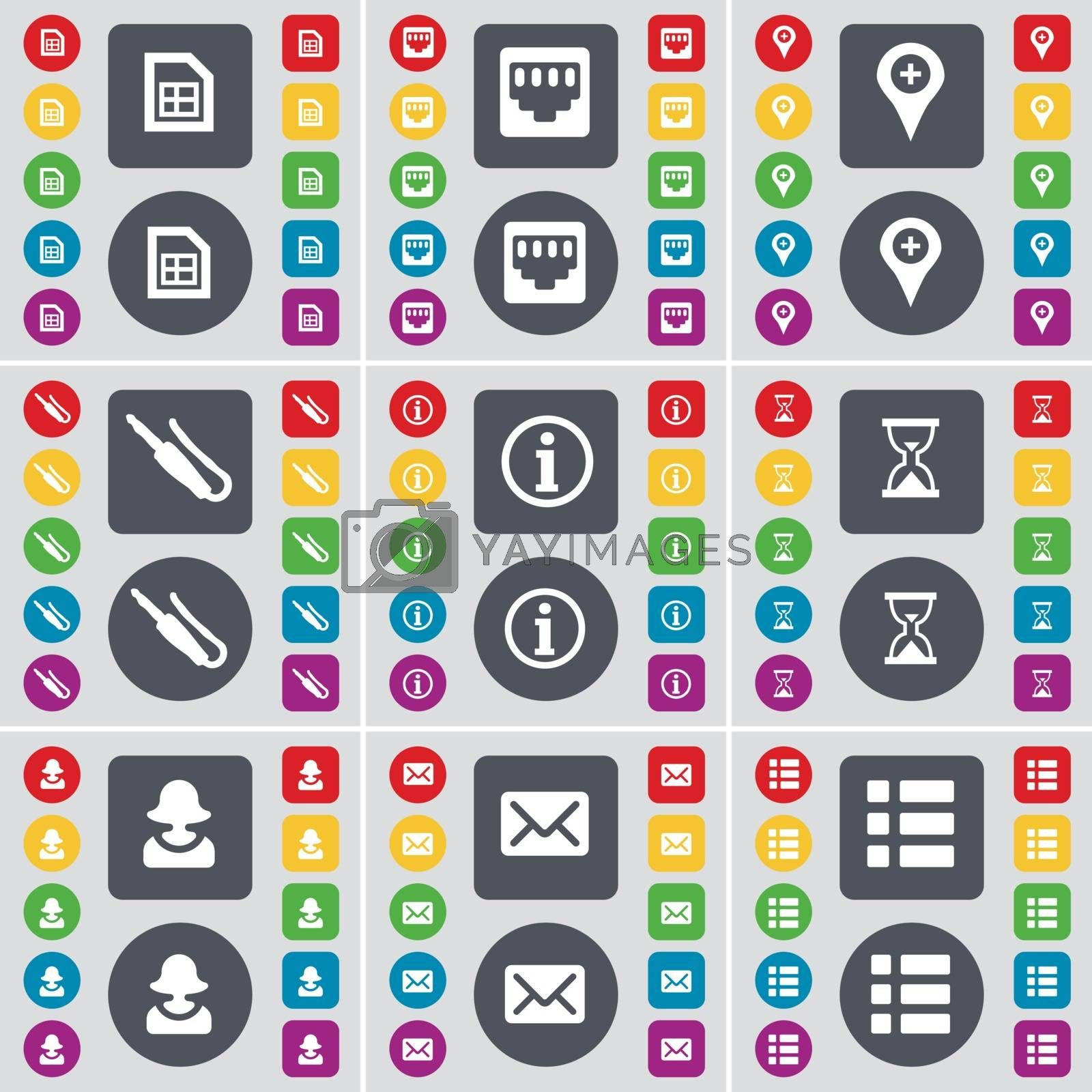 Royalty free image of File, LAN socket, Checkpoint, Microphone connector, Information, Hourglass, Avatar, Message, List icon symbol. A large set of flat, colored buttons for your design. Vector by serhii_lohvyniuk